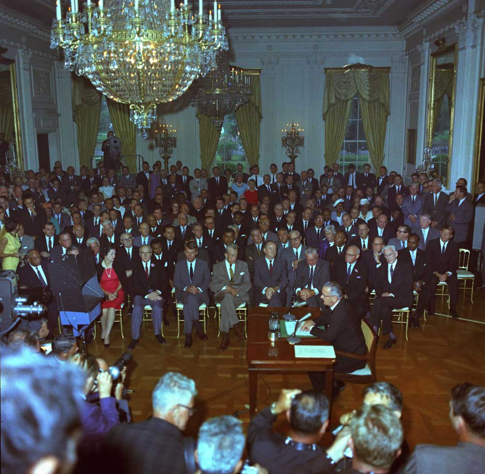 Lyndon B. Johnson speaks to the nation before signing the Civil Rights Act of 1964.