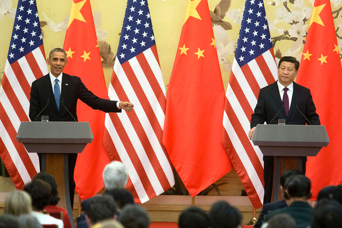 President Obama and President Xi hold a press conference at the Great Hall of the People in Beijing