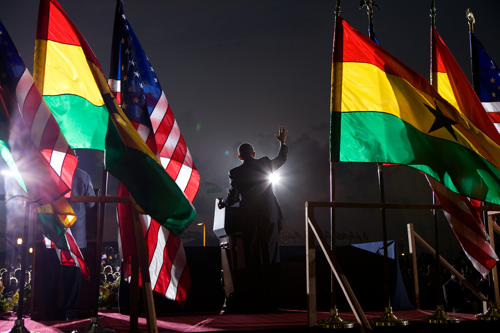 President Barack Obama speaks to the crowd at the departure ceremony at Accra airport