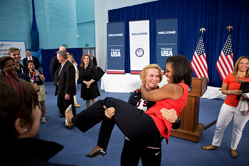 The First Lady is picked up by U.S. Olympic wrestler Elena Pirozhkova