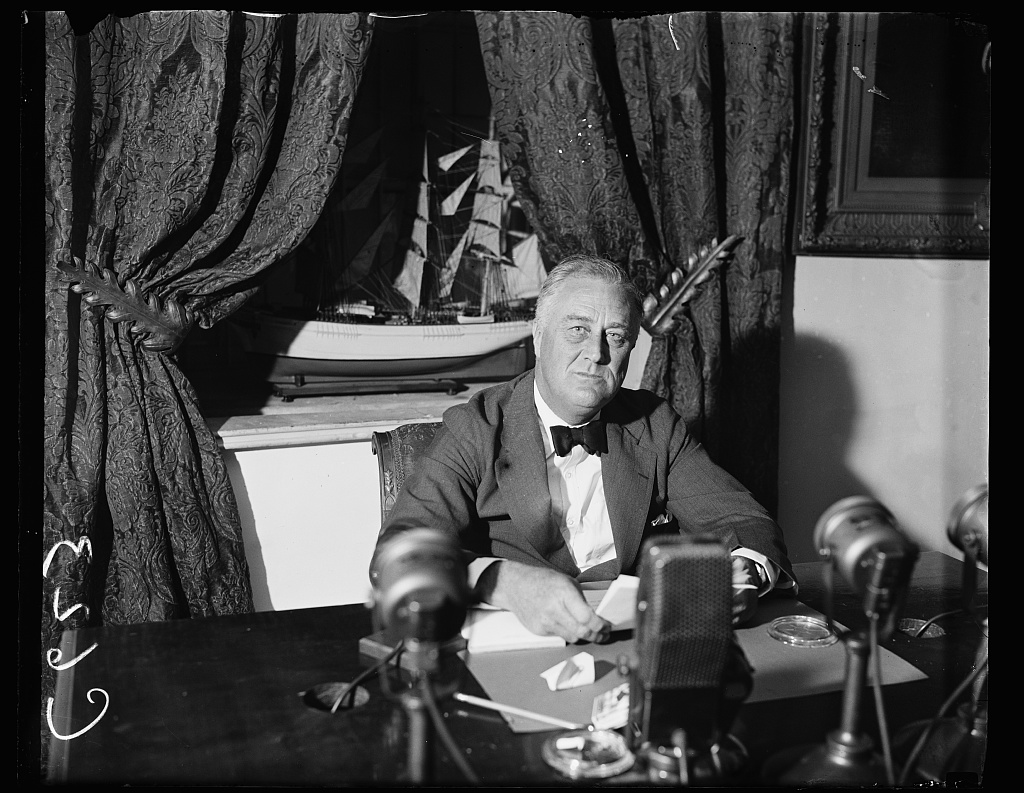 President Franklin D. Roosevelt prepares for his famous