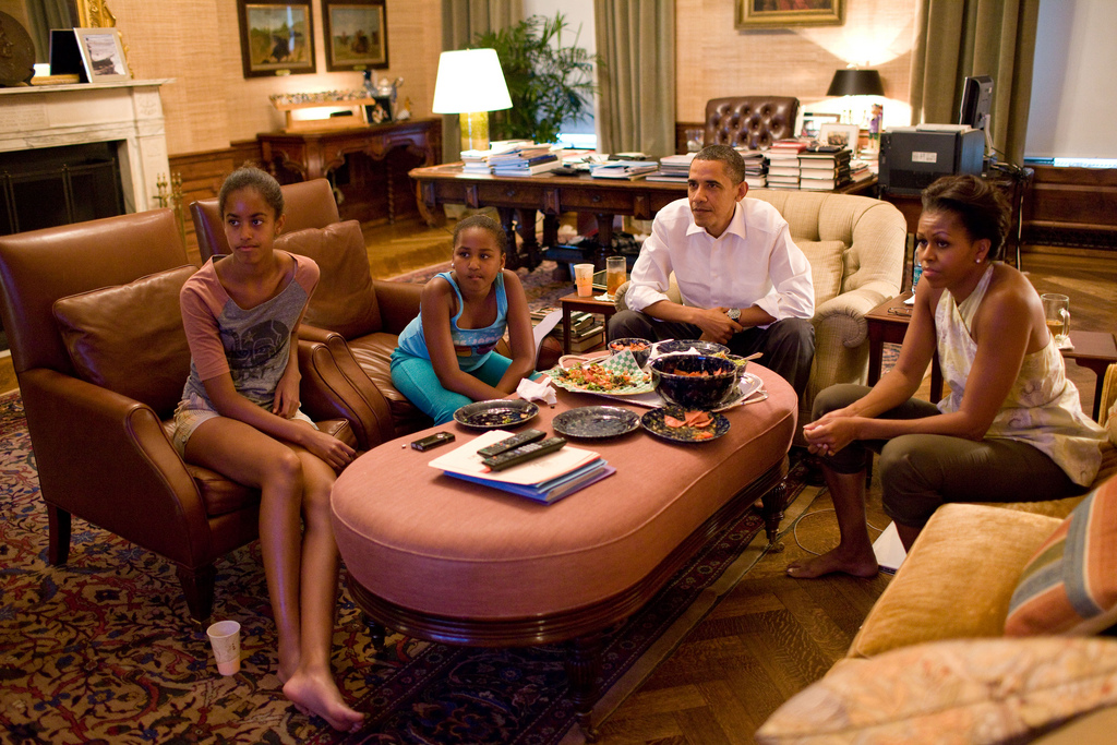 President Barack And Family Watch The World Cup Soccer