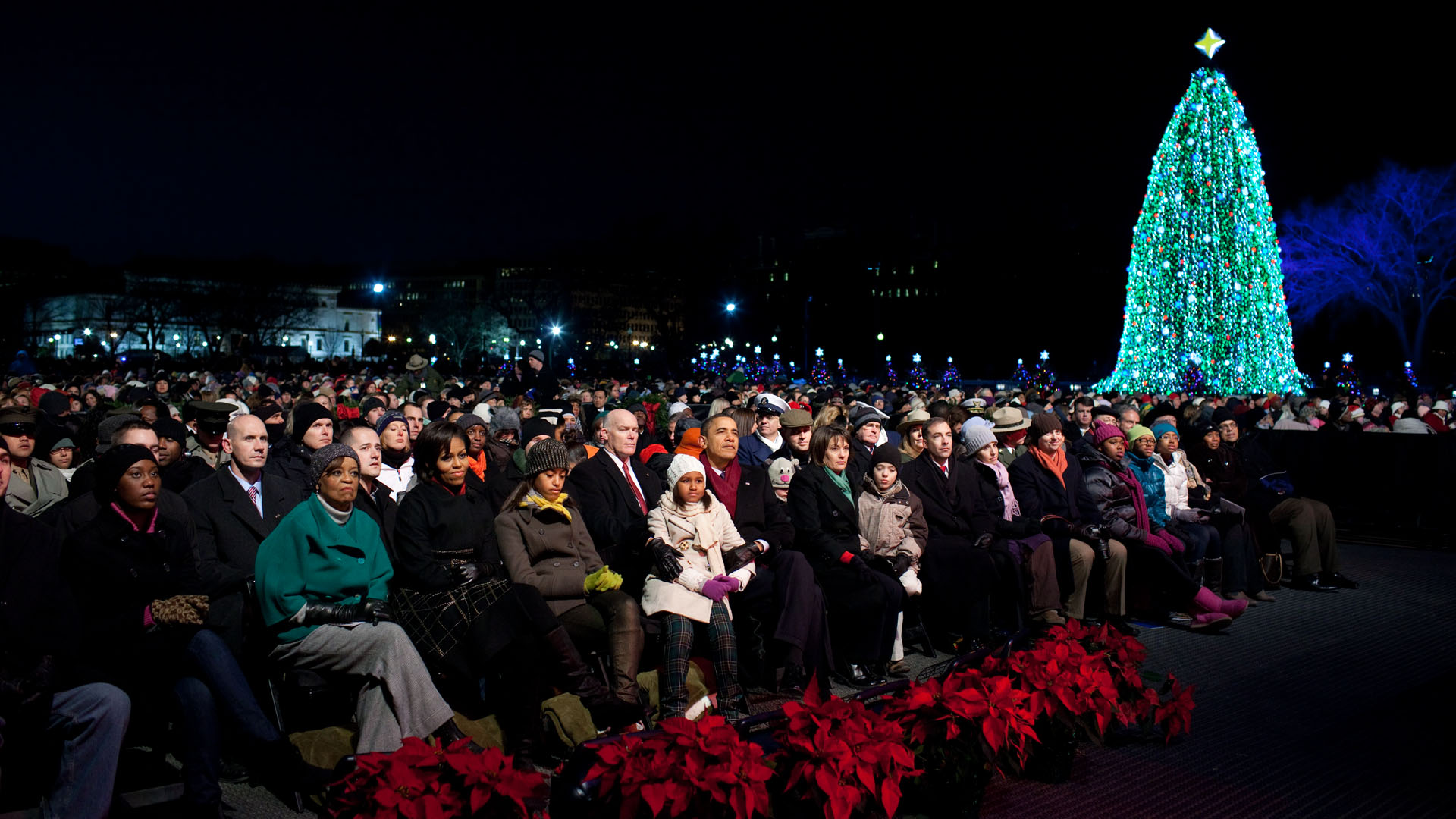 National Christmas Tree Lighting.5 4 3 2 1 The Obama Family Lights The National