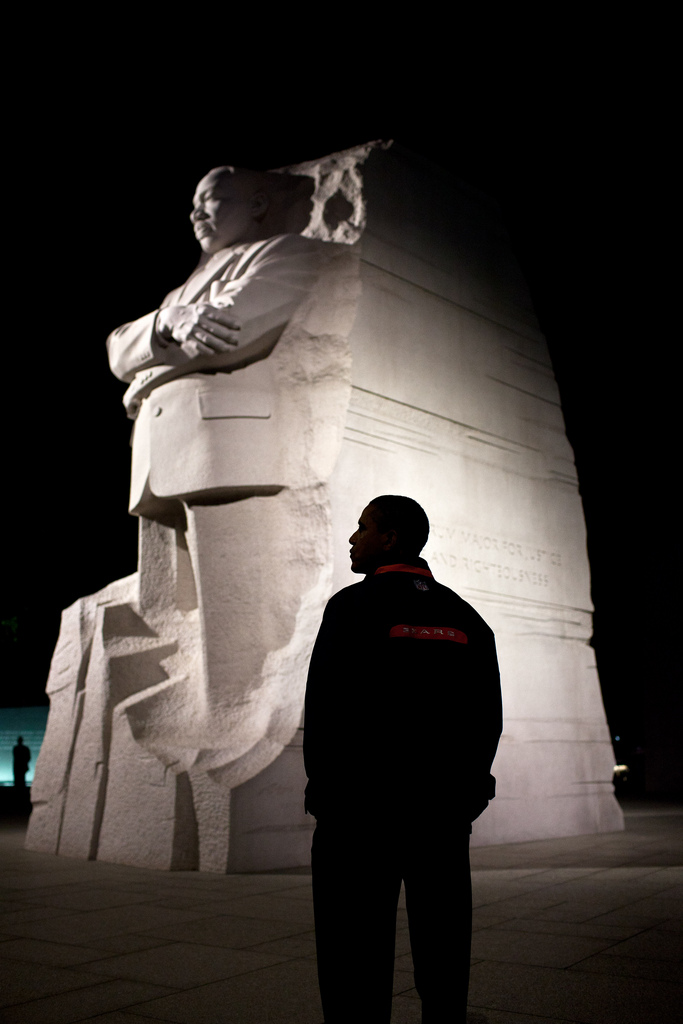 President Obama visits MLK memorial at night