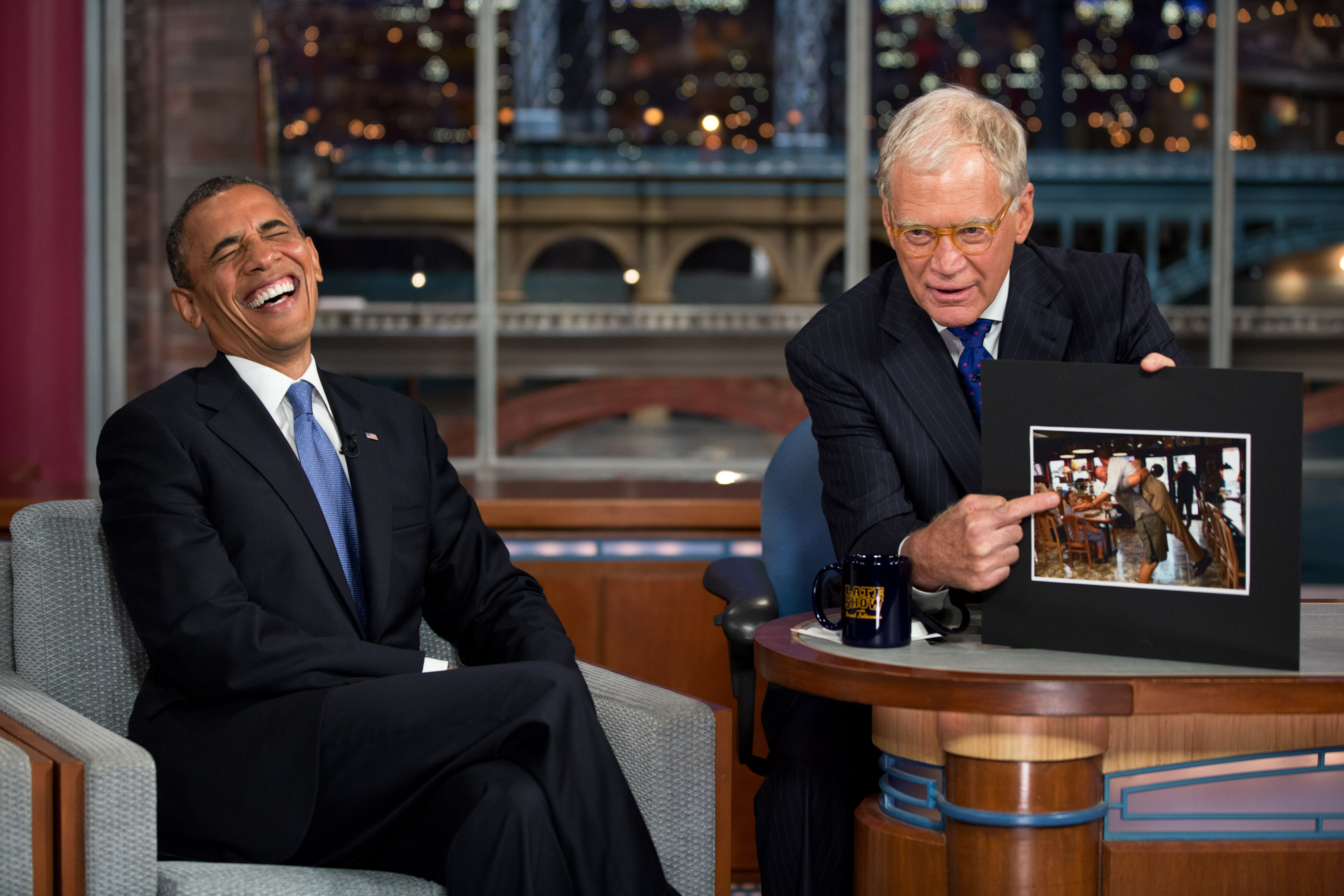 President Obama Laughs on David Letterman 2012