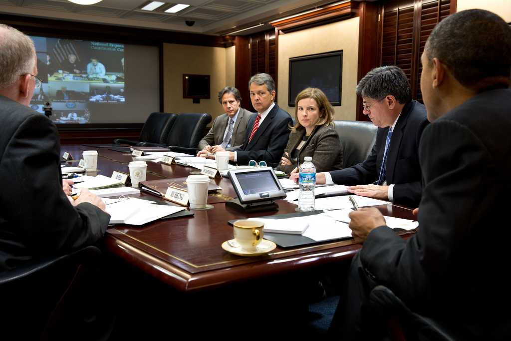 President Barack Obama receives an update from officials via video teleconference on the ongoing response to Hurricane Sandy