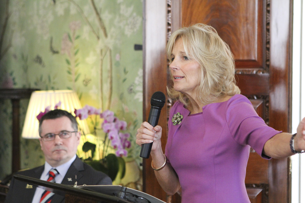 Dr. Jill Biden Addresses a Help for Heroes Reception at the US Embassy in London, Feb 5, 2013