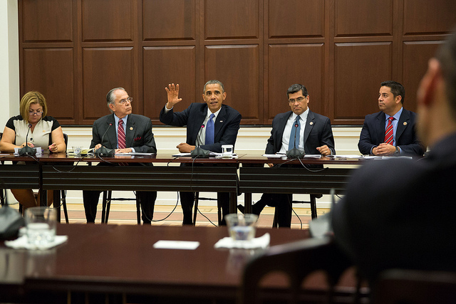 President Barack Obama meets with the Congressional Hispanic Caucus