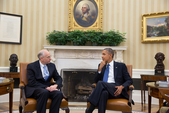 President Barack Obama meets with Ambassador Donald Booth, Special Envoy for Sudan and South Sudan