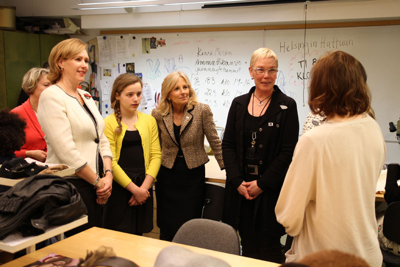 Dr. Biden visits the Helsinki City College of Culinary Art, Fashion and Beauty