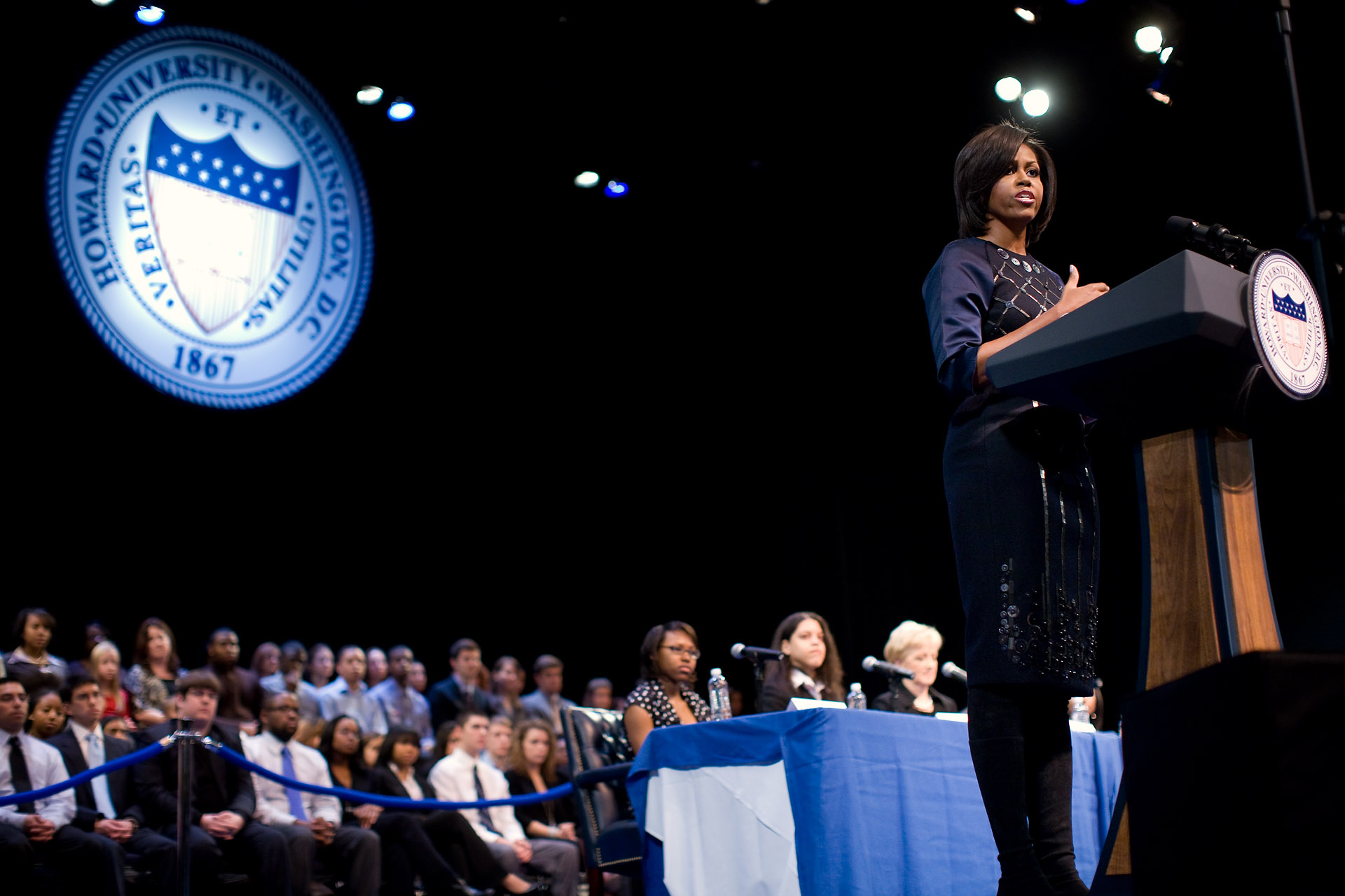 First Lady Michelle Obama addresses the