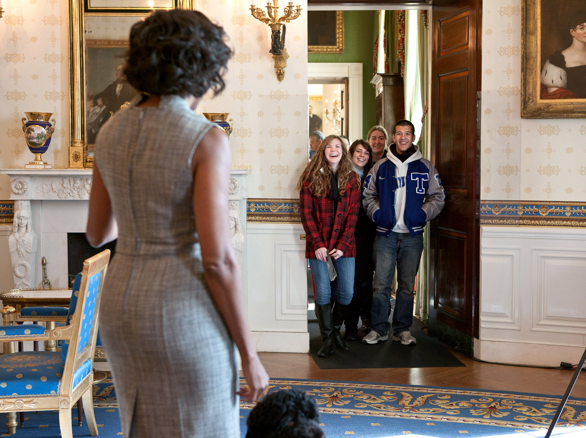 First Lady Michelle Obama Surprises White House Visitors