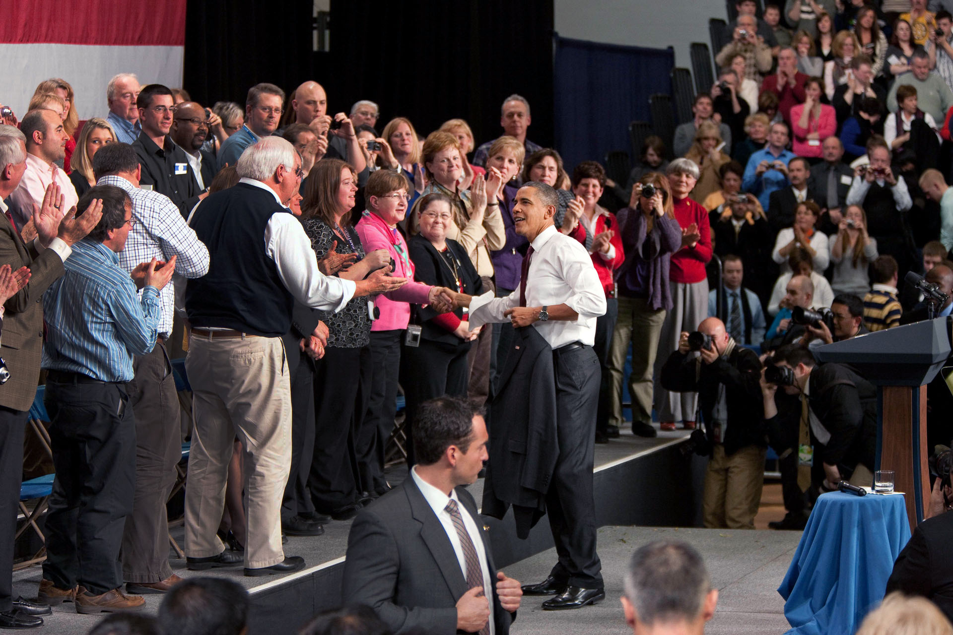 President Obama Shakes Hands with People at Nashua High School