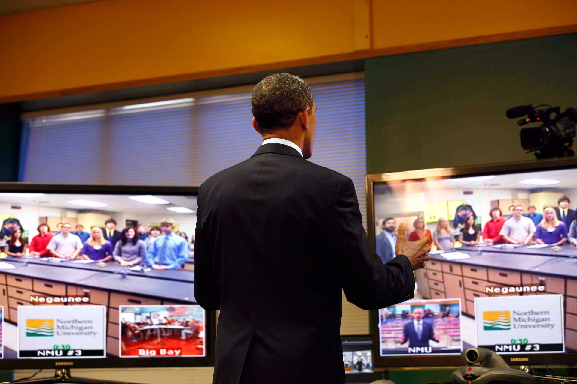 President Obama Teleconferences With Students in Michigan