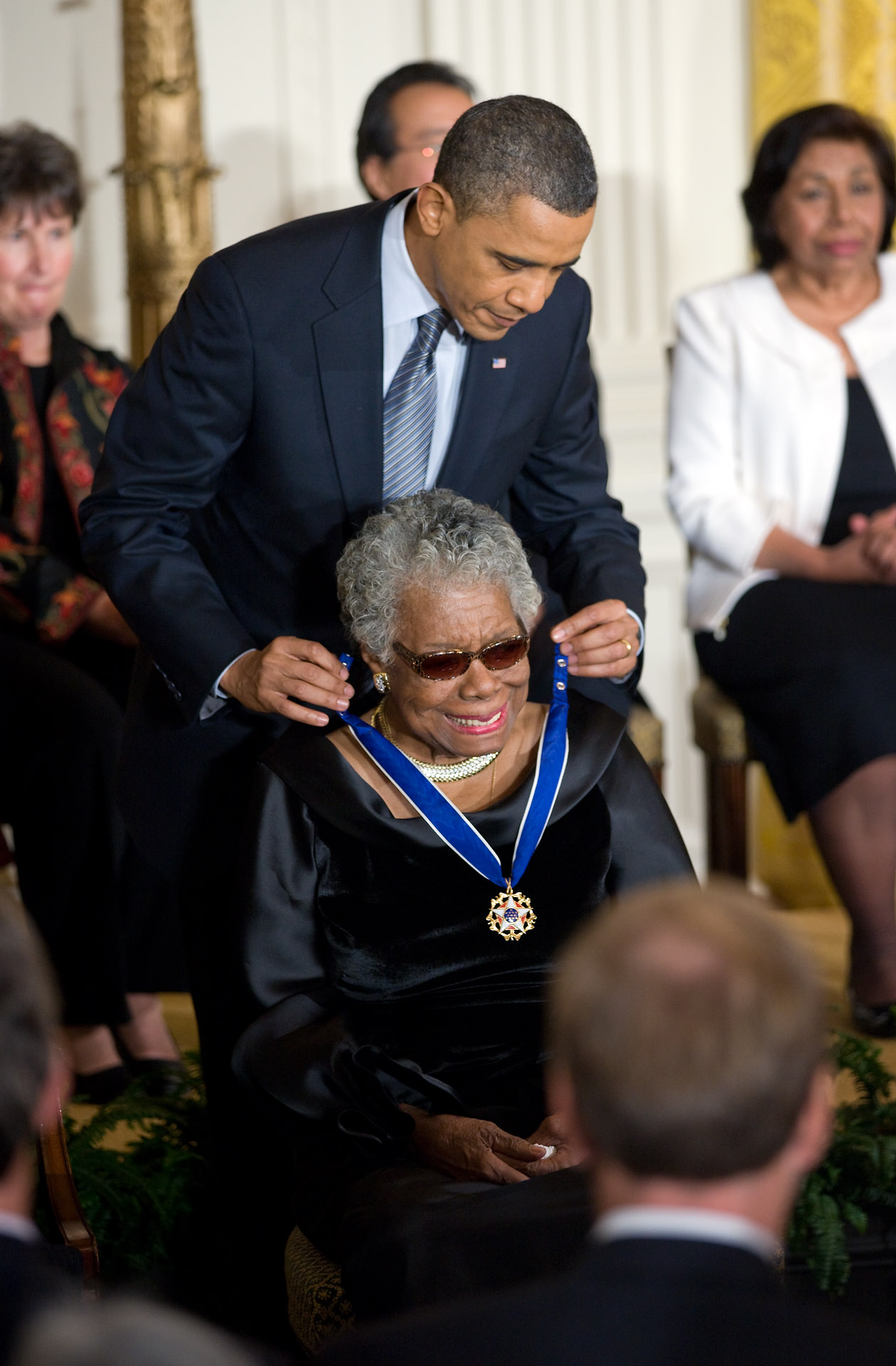 President Barack Obama awards the 2010 Presidential Medal of Freedom to Dr. Maya Angelou
