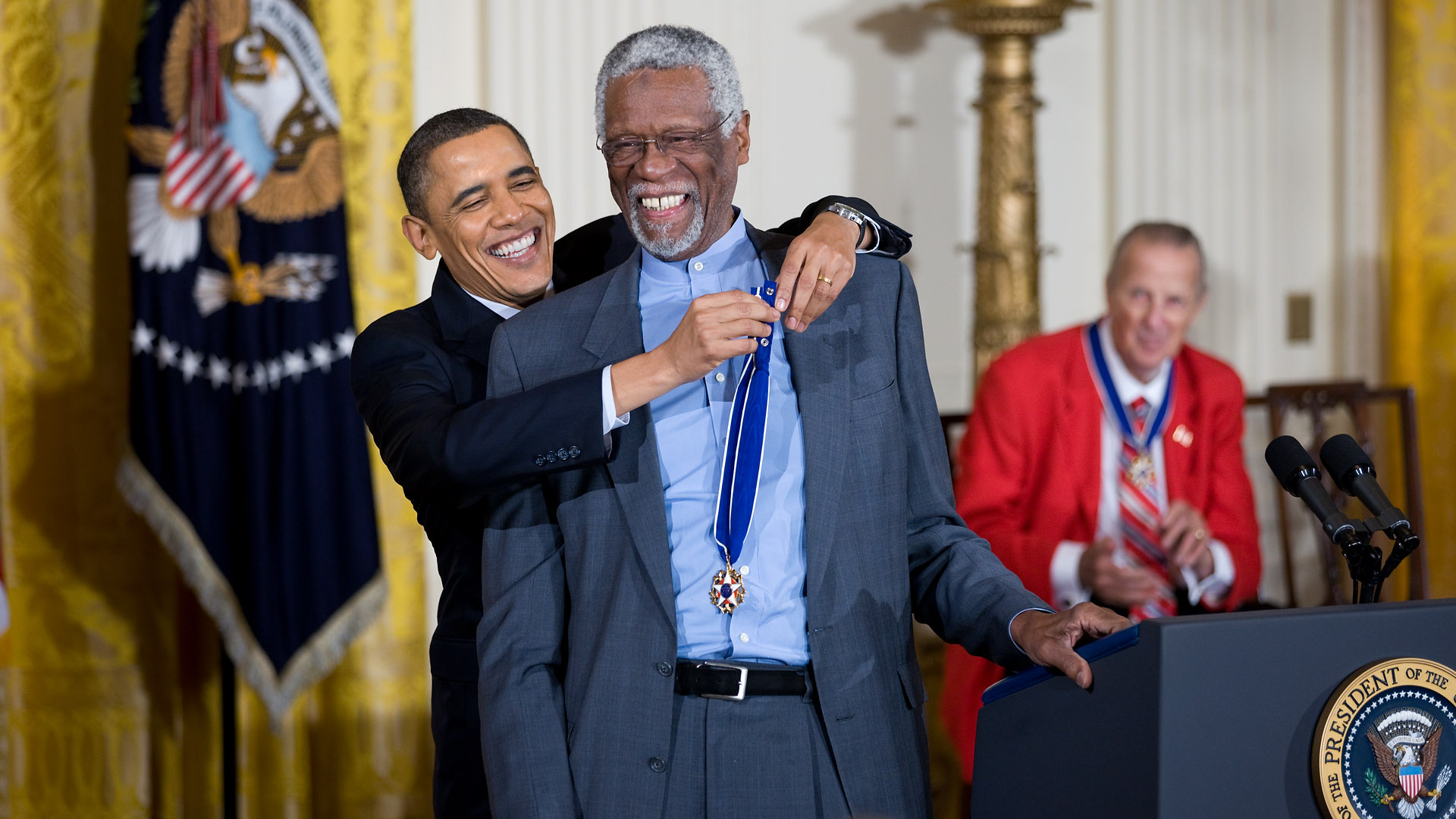 President Barack Obama awards the 2010 Presidential Medal of Freedom to Bill Russell
