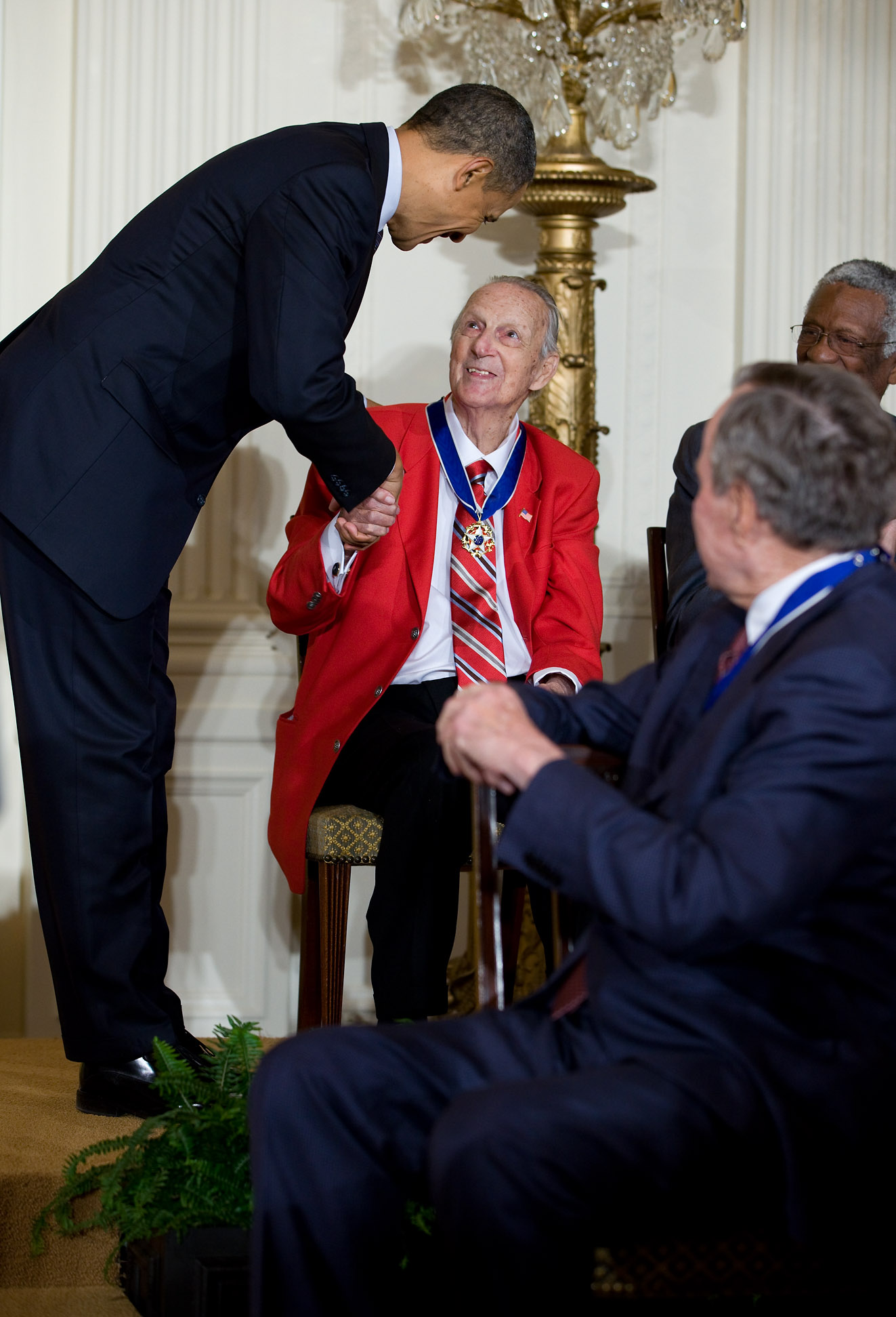 President Barack Obama awards the 2010 Presidential Medal of Freedom to Stan Musial