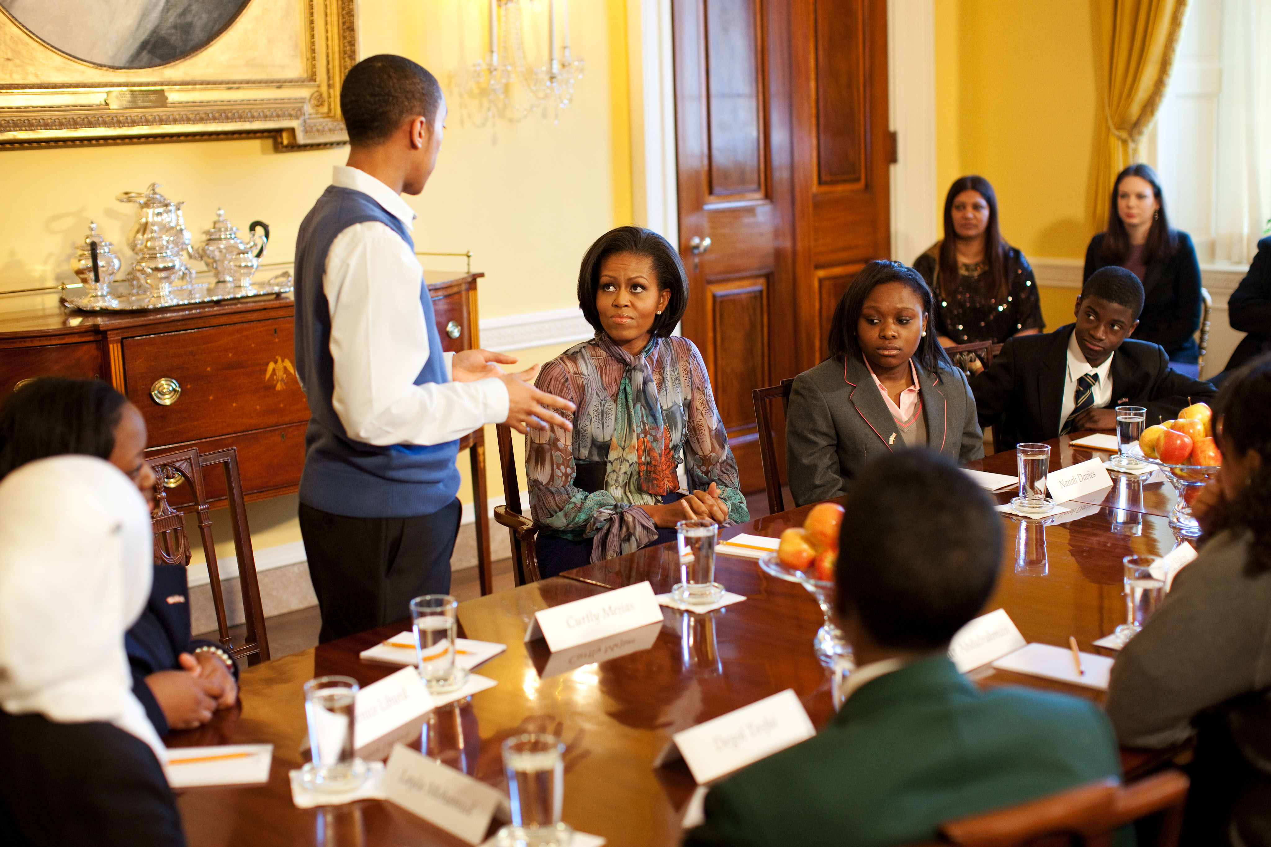 First Lady and British Essay Winners