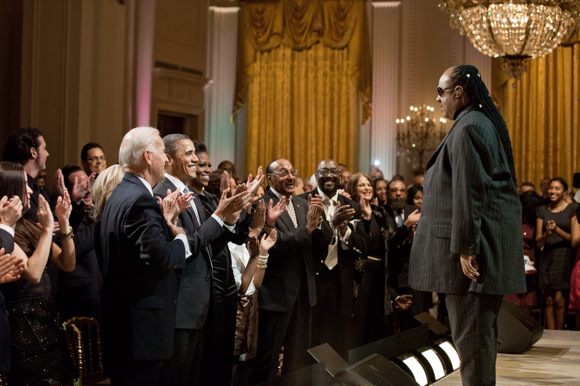 "Vice President Joe Biden, Dr. Jill Biden, President Barack Obama and First Lady Michelle Obama join the standing ovation for Stevie Wonder during ""The Motown Sound"