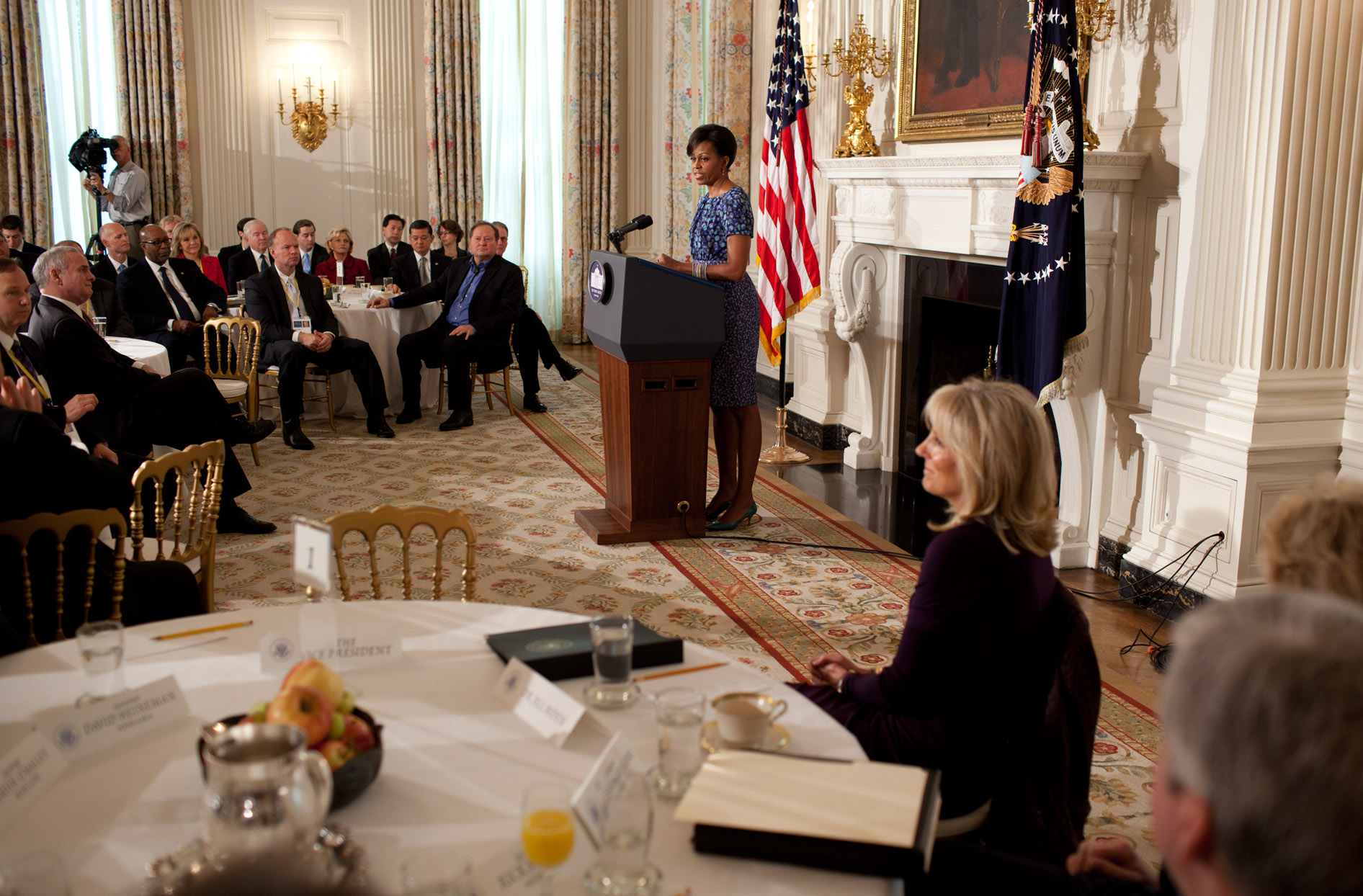 First Lady Michelle Obama delivers remarks to governors attending the National Governors Association's meeting
