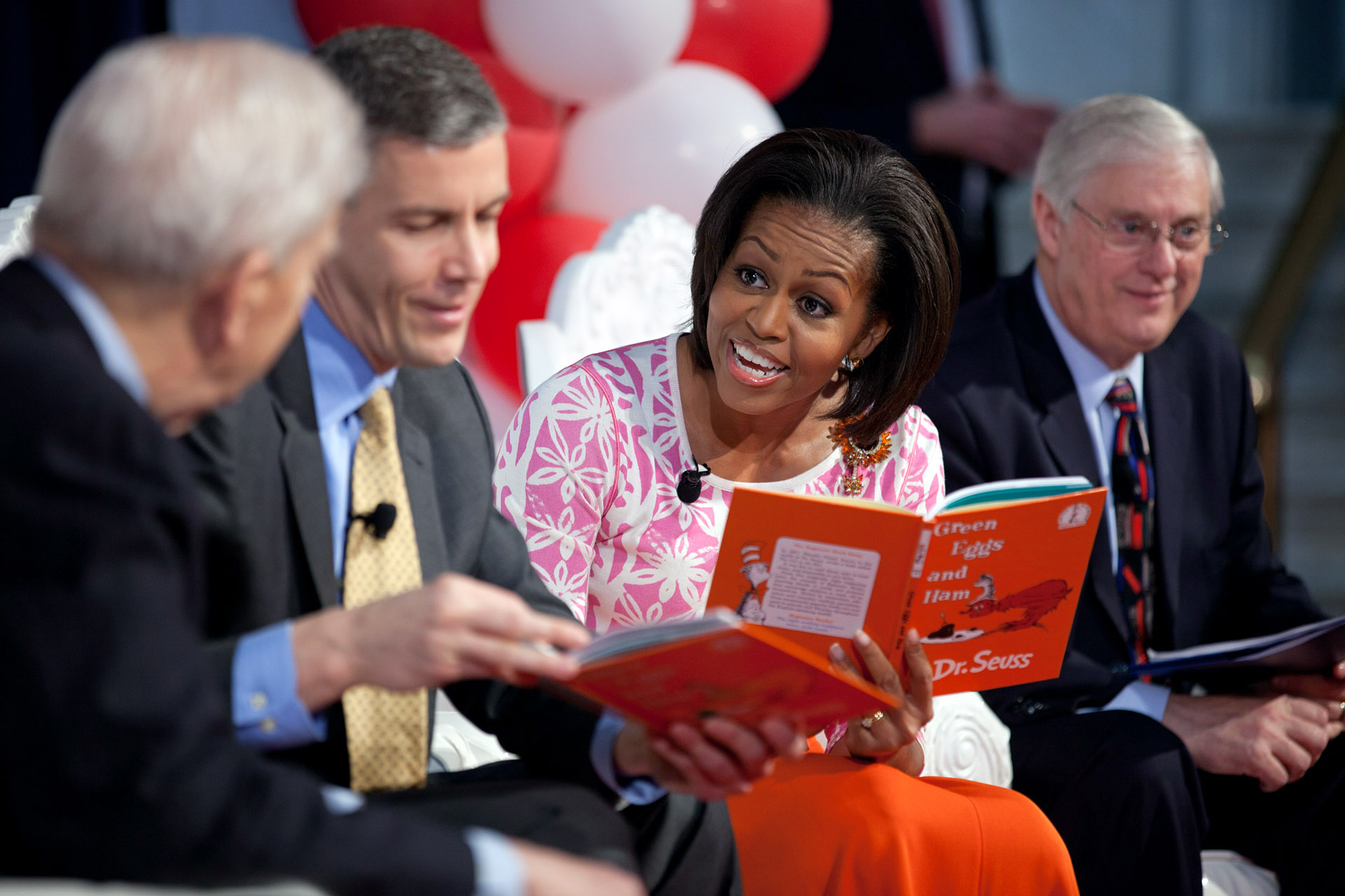 First Lady Michelle Obama participates in Read Across America Day