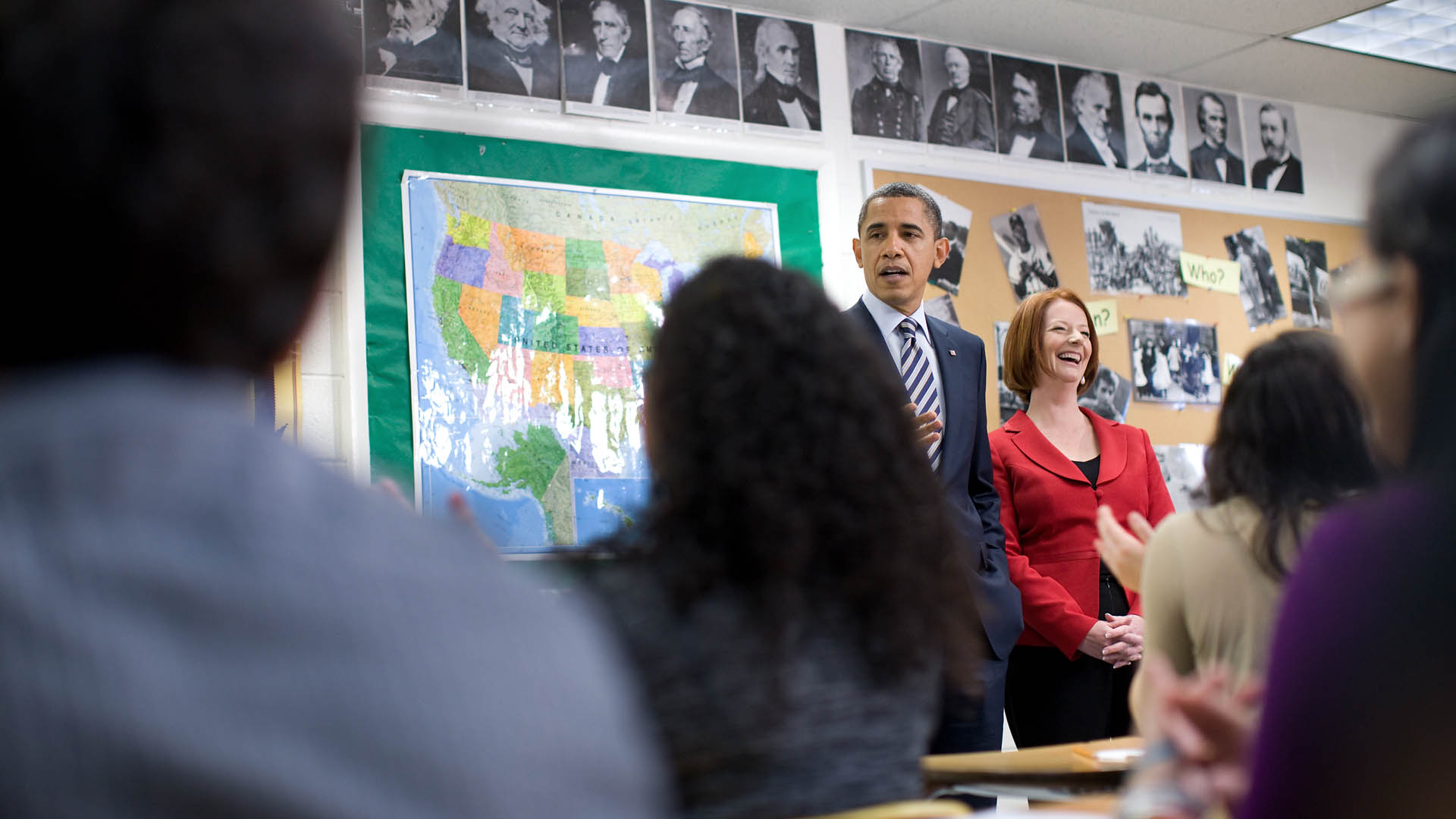 President Obama Visits School With Prime Minister Gillard