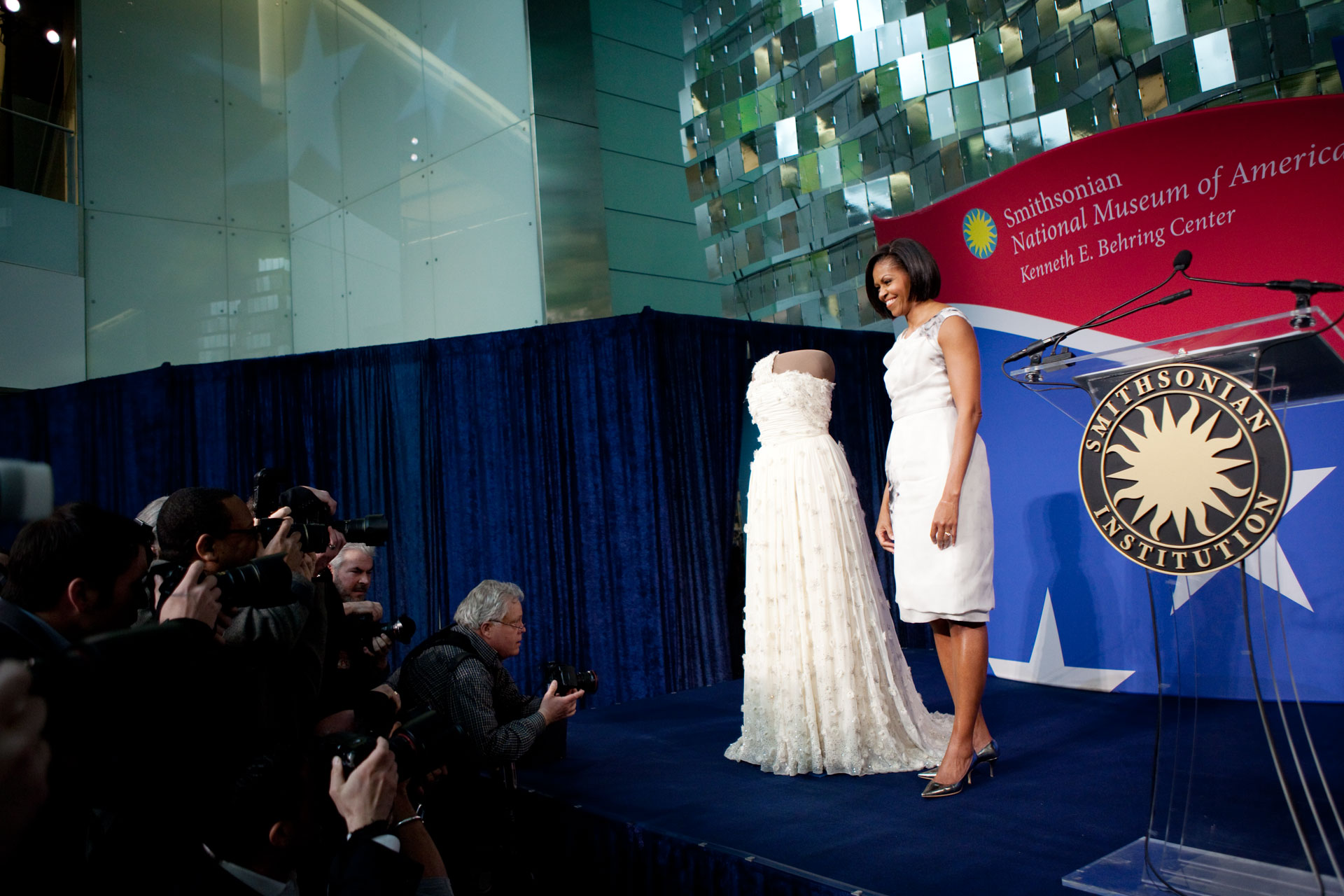 First Lady Michelle Obama presents her 2009 inaugural gown