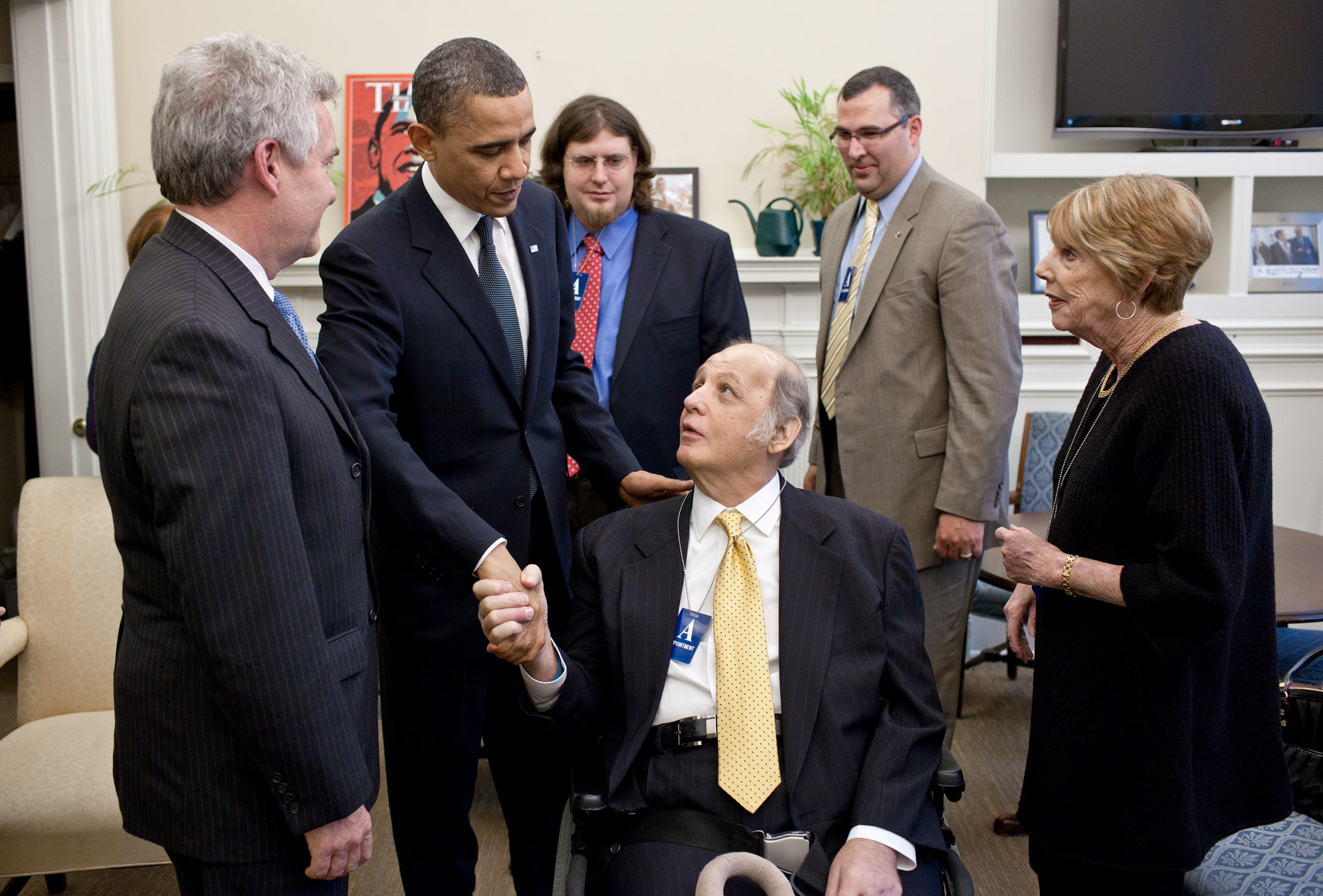 President Barack Obama Meets Former Press Secretary James Brady