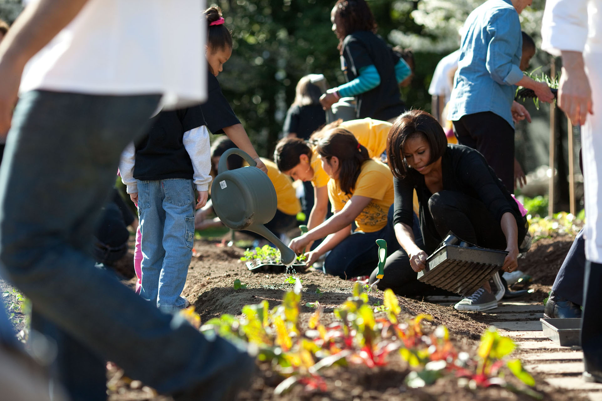 First Lady Michelle Obama participates in the Spring Garden Planting