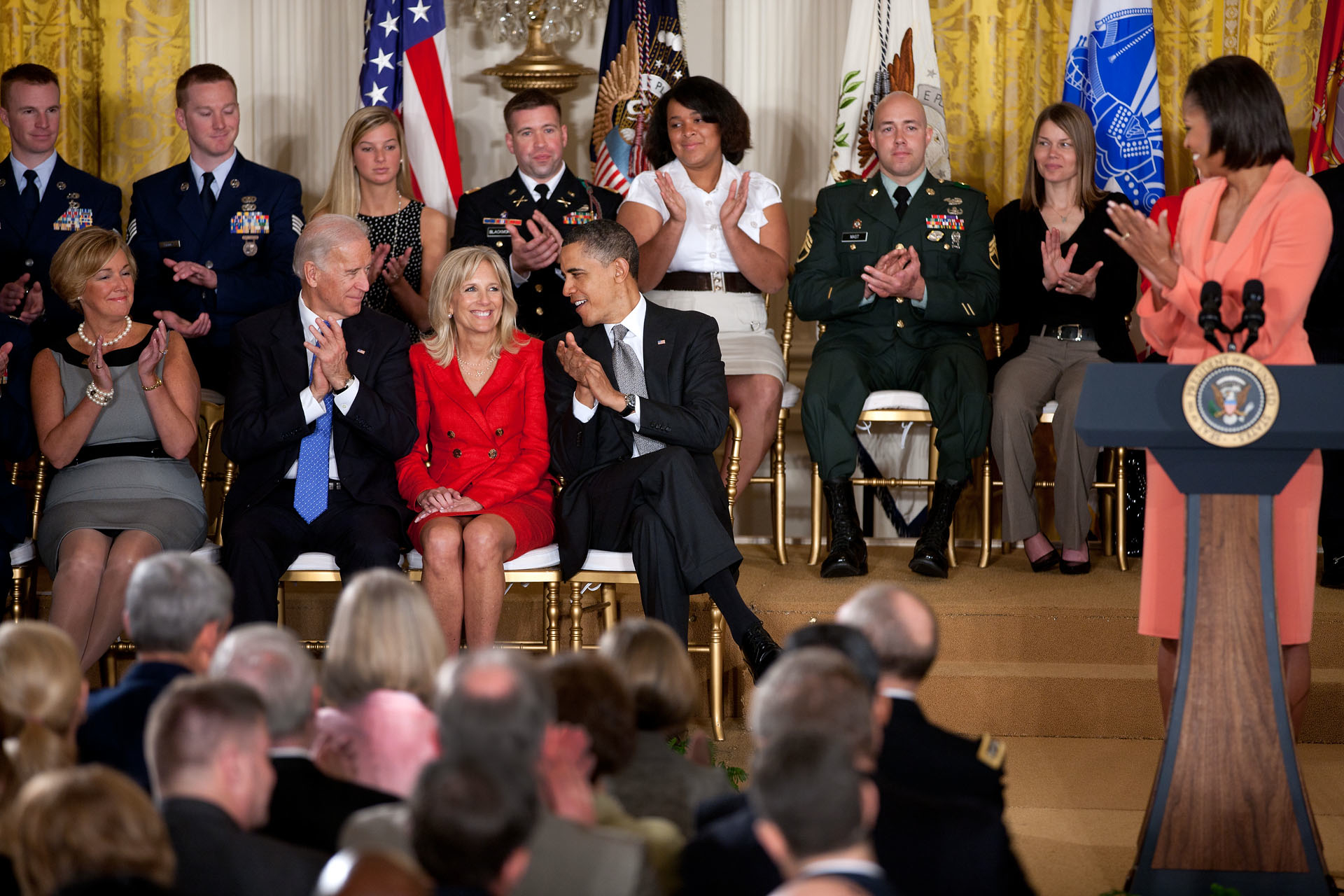 President Barack Obama, First Lady Michelle Obama, and Vice President Joe Biden acknowledge Dr. Jill Biden during the launch of the Joining Forces