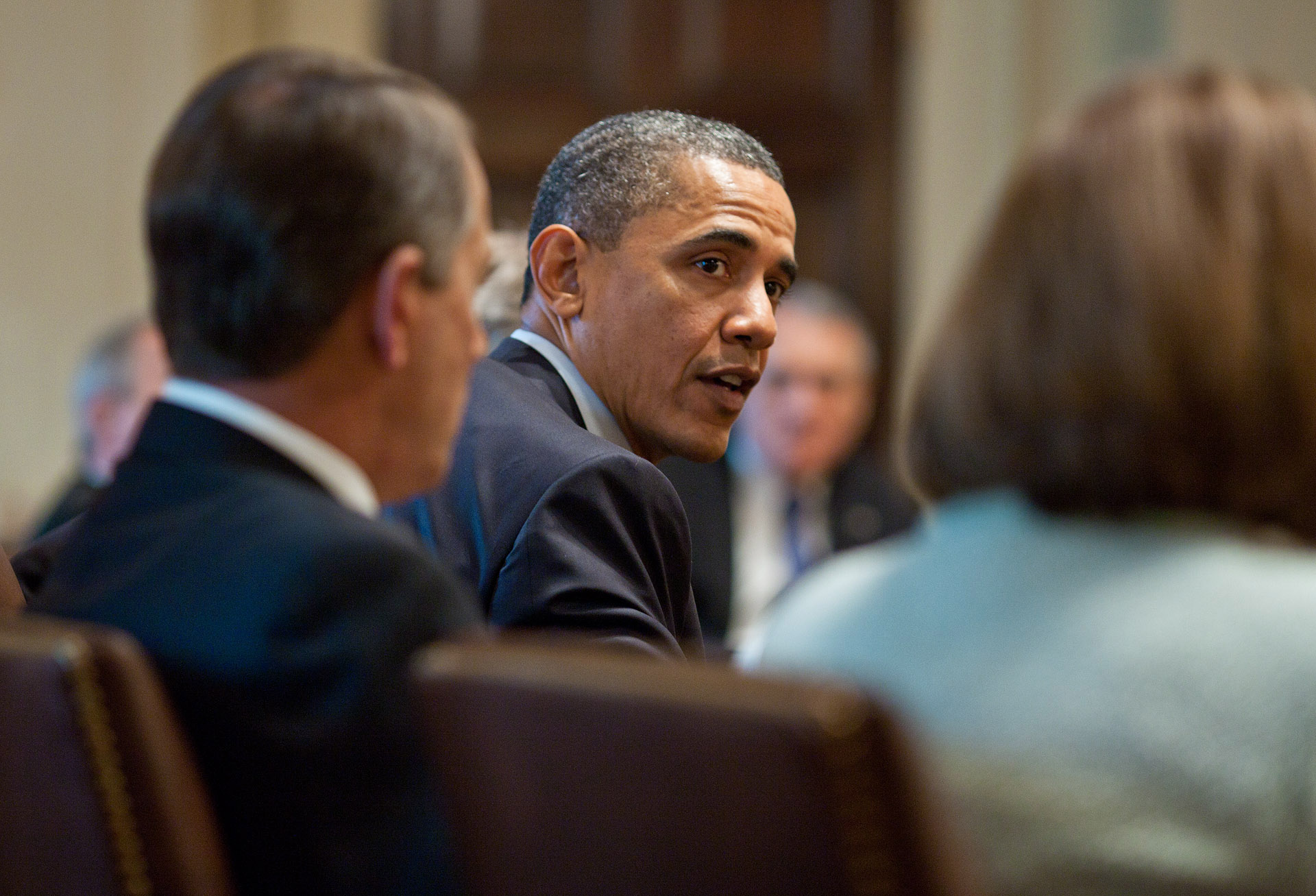 President Barack Obama President meets with the House and Senate Leadership in the Cabinet Room