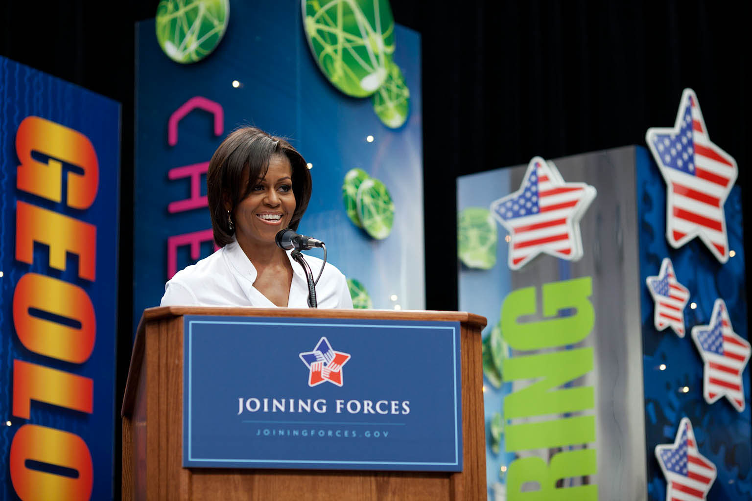 First Lady Michelle Obama participates in a Math and Science Bowl