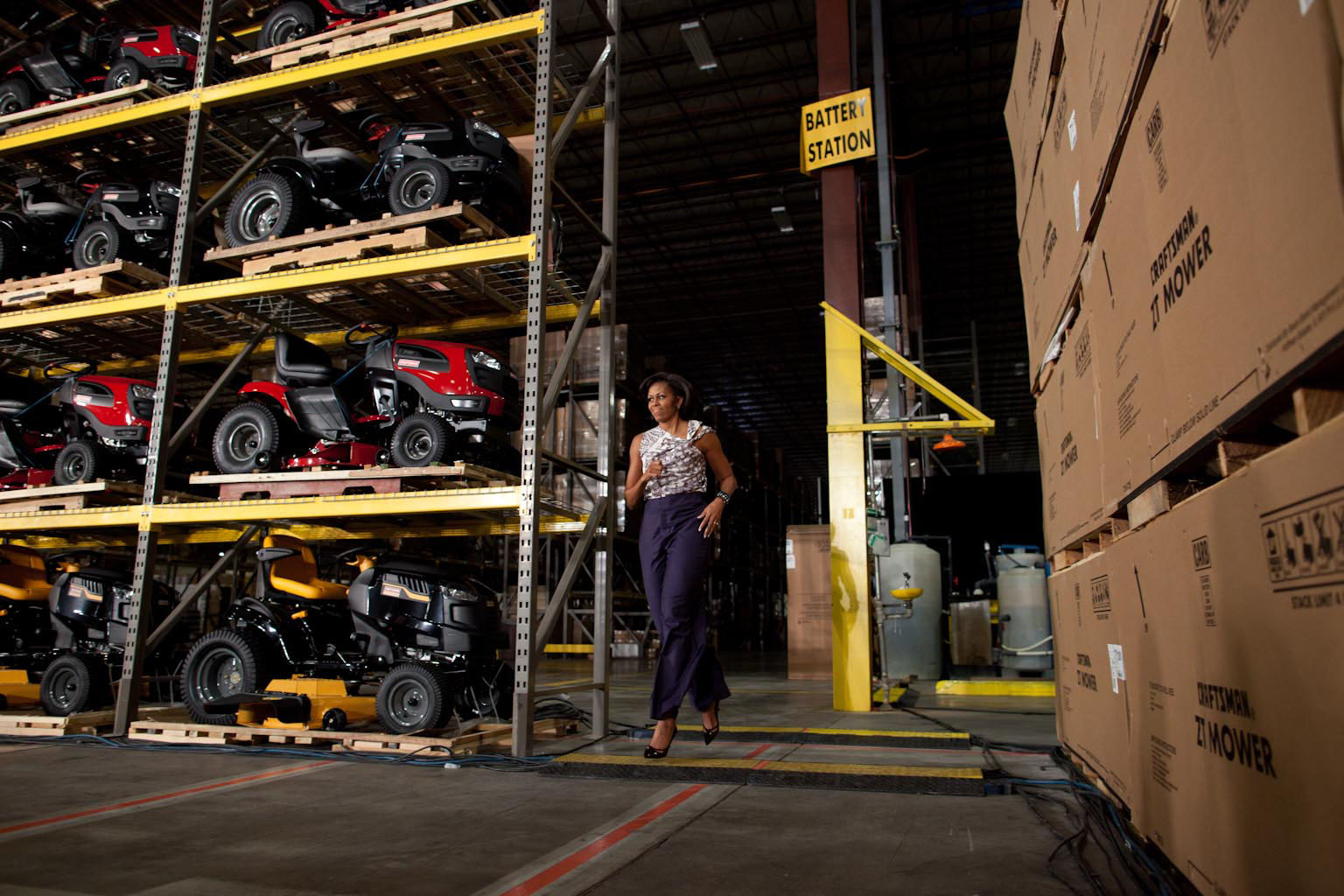 First Lady Michelle Obama greets people following her remarks at a SEARS distribution center 2