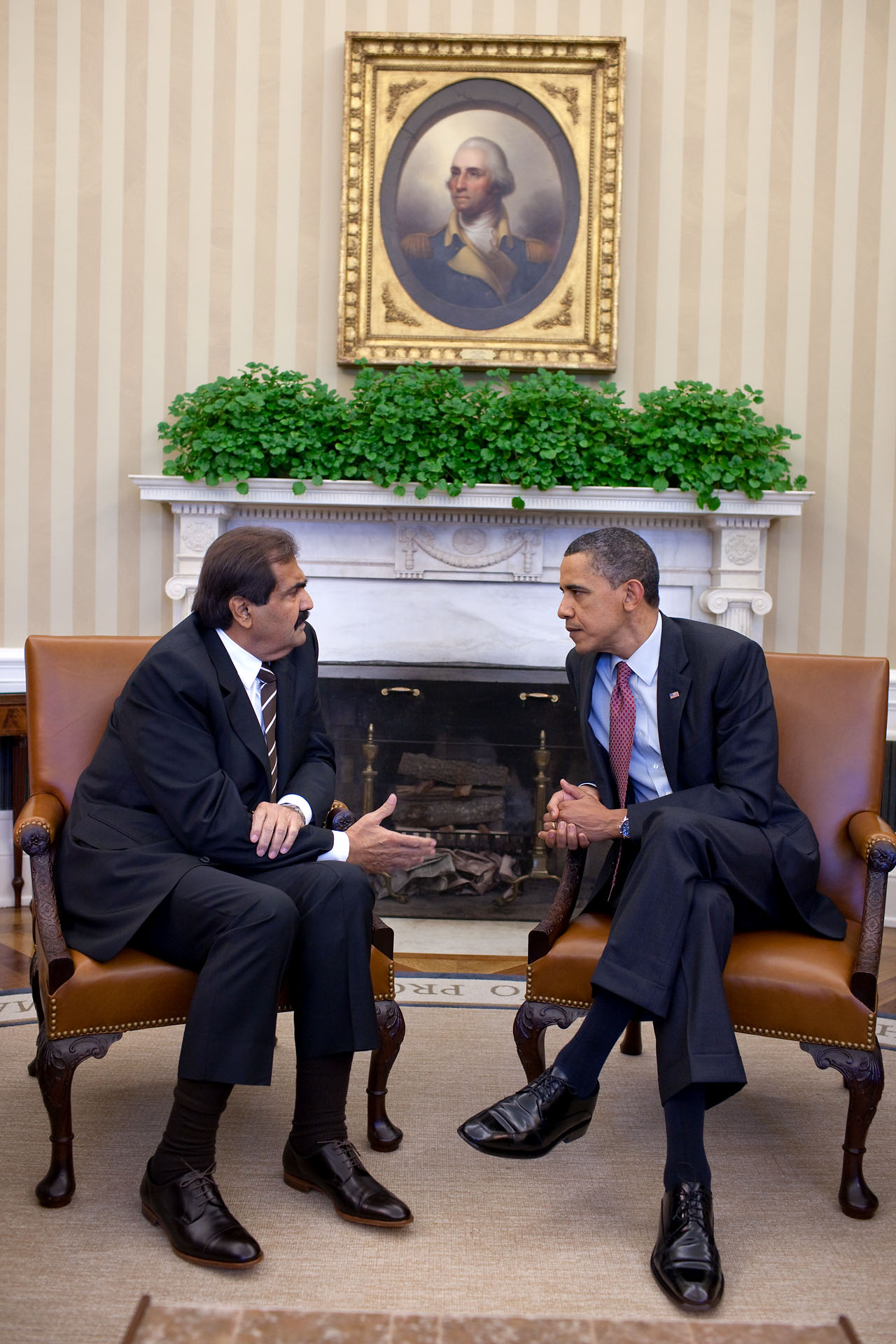 President Obama Meets with Amir Hamad of Qatar