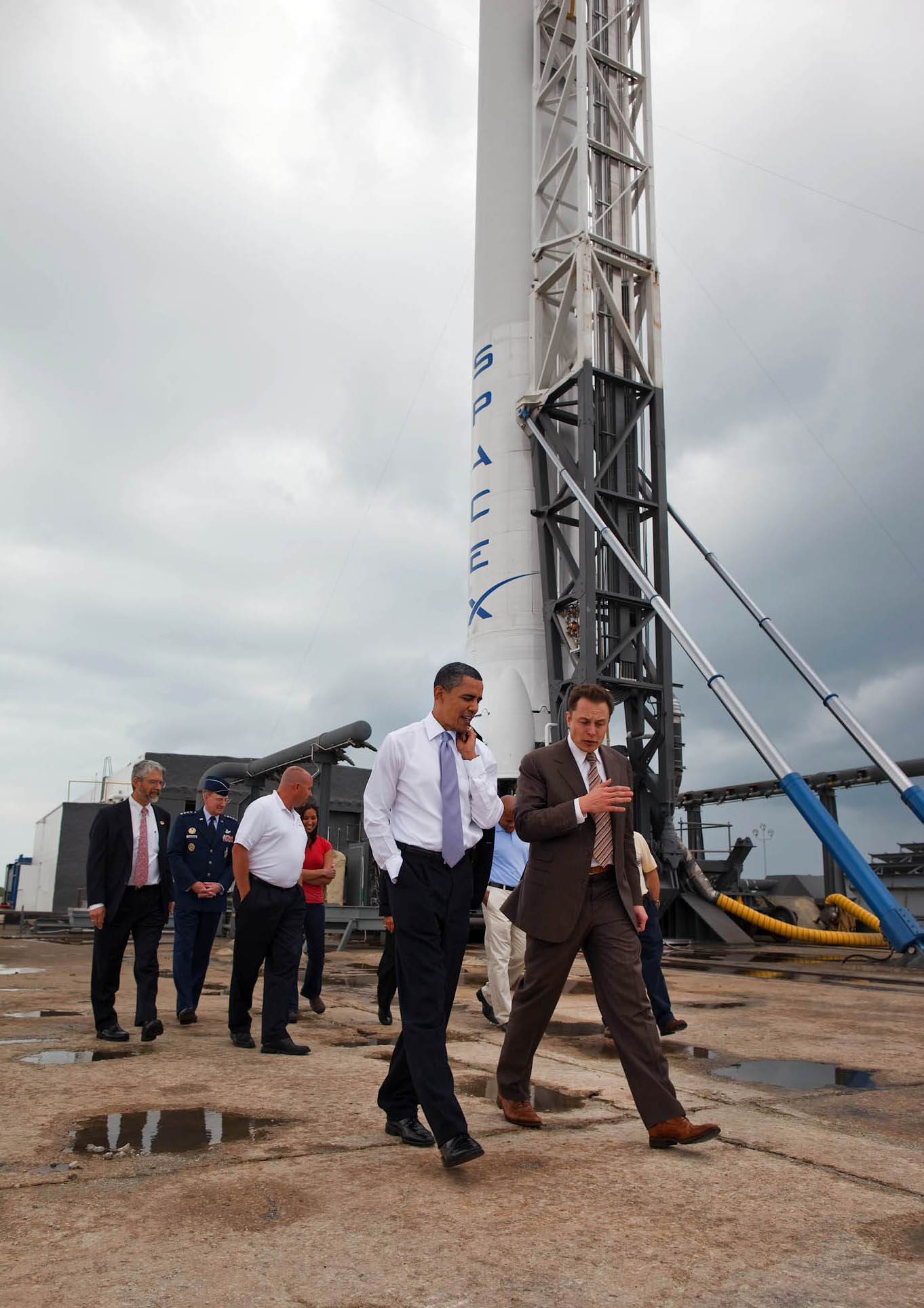 President Barack Obama tours SpaceX with CEO Elon Musk