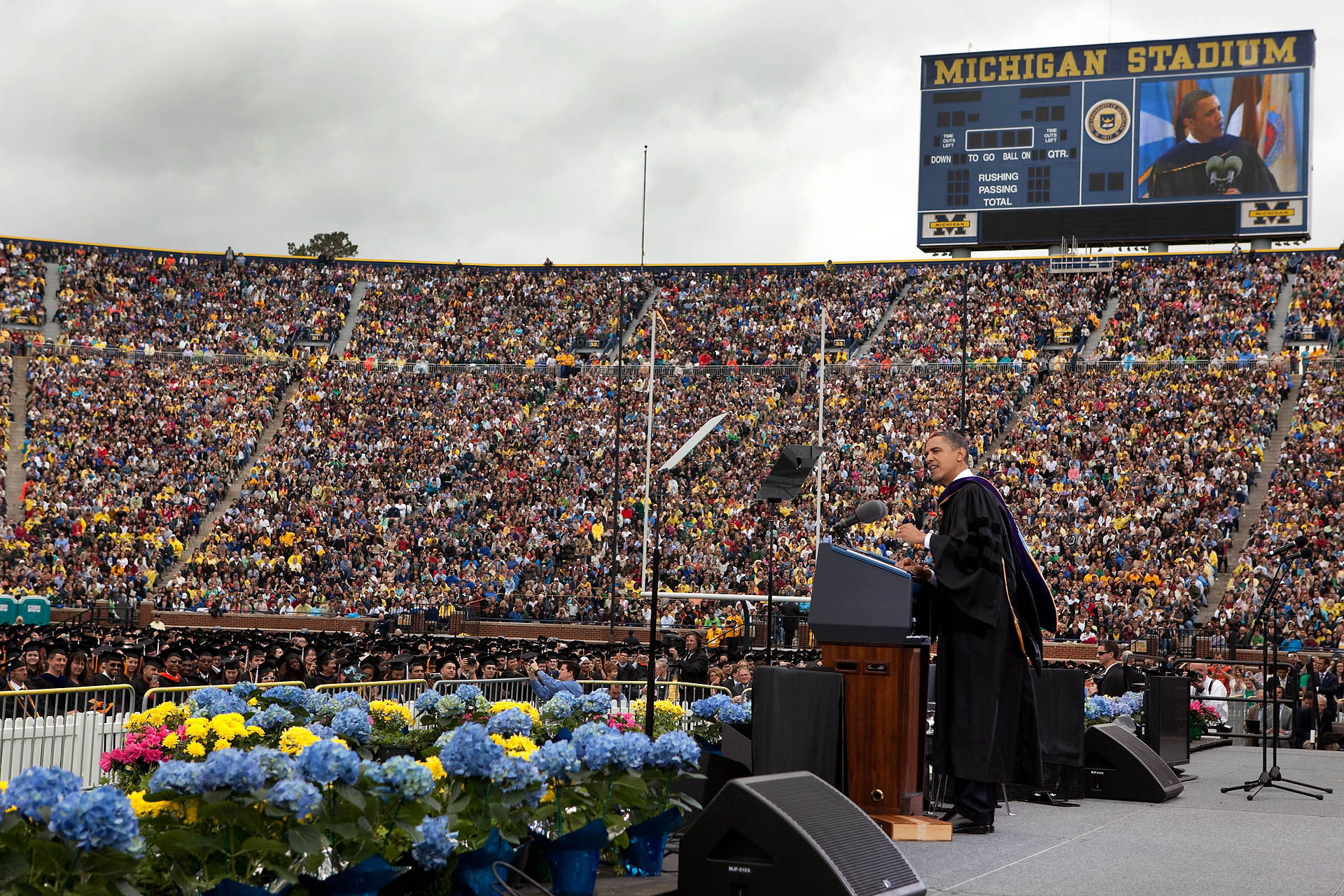 President Obama Delivers Commencement Speech in Michigan