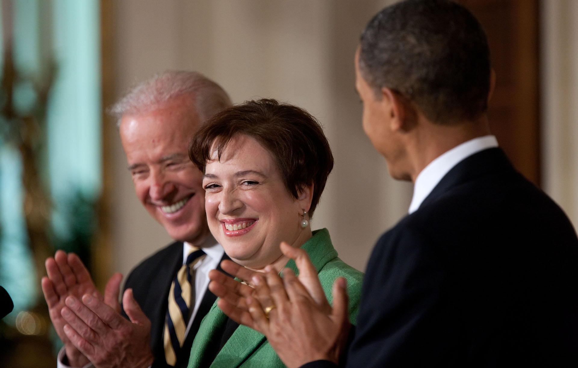 President Obama with Supreme Court Nominee Elena Kagan and Vice President Biden