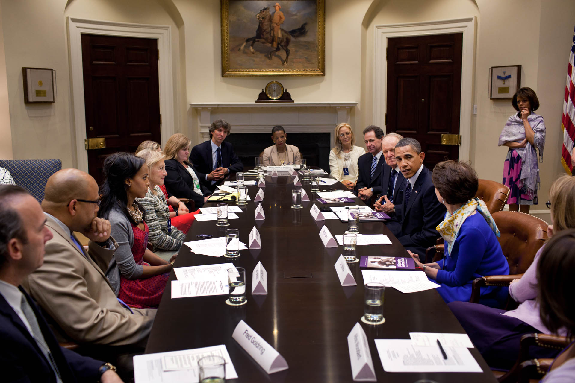 President Barack Obama drops by the President's Committee on Arts and Humanities meeting