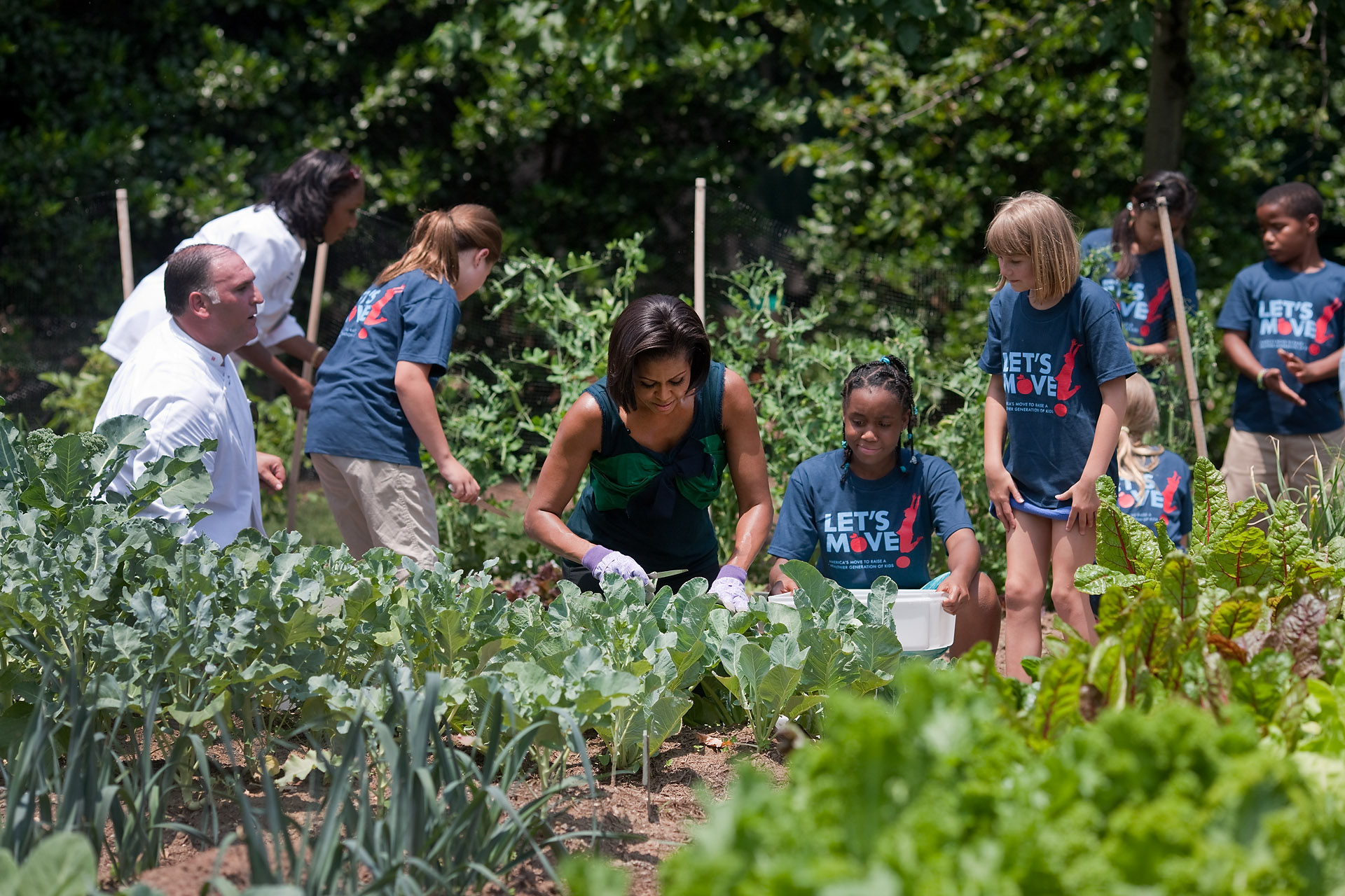 First Lady Michelle Obama and a group of children harvest vegetables