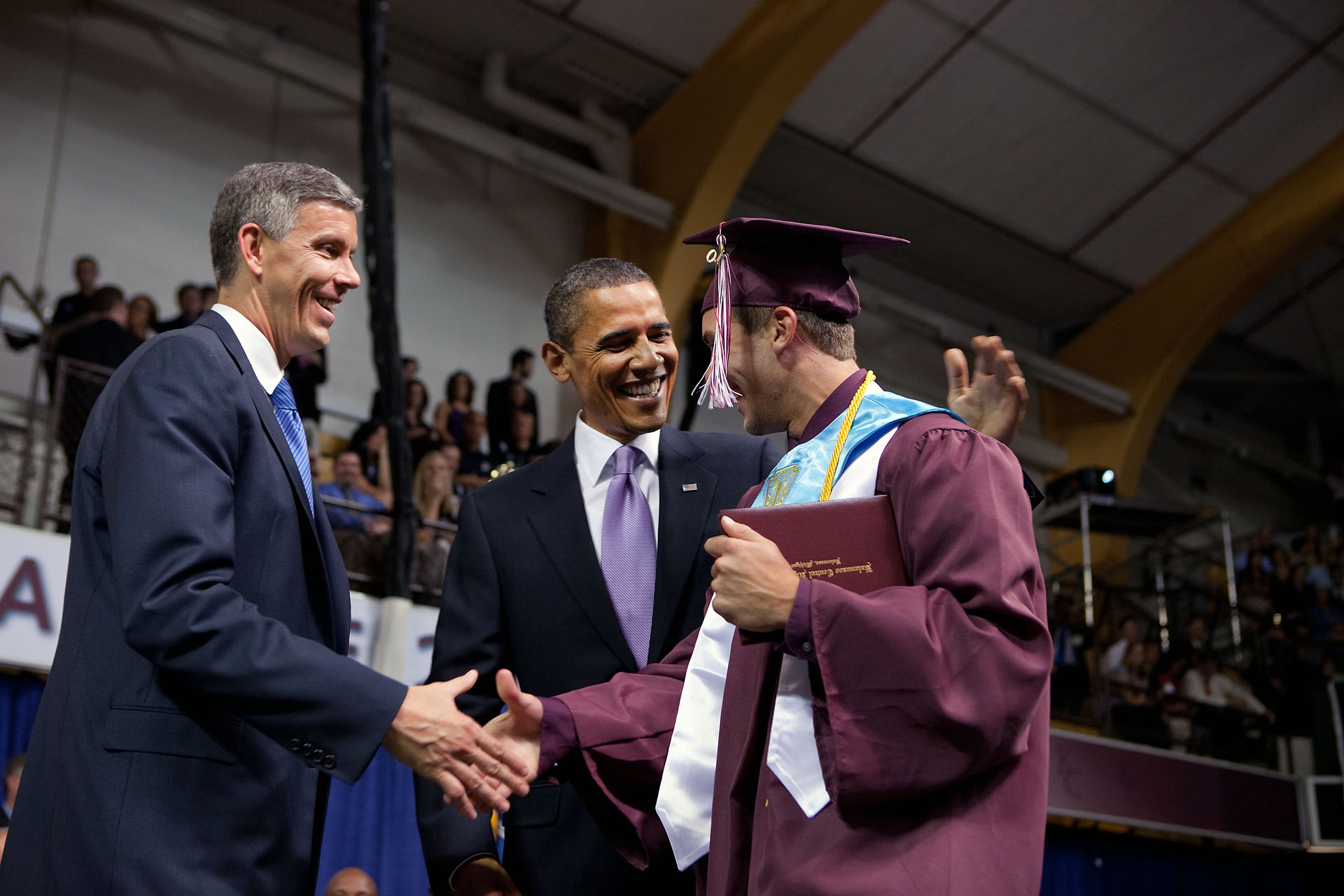 President Obama, Secretary Duncan and student at Kalamazoo Central