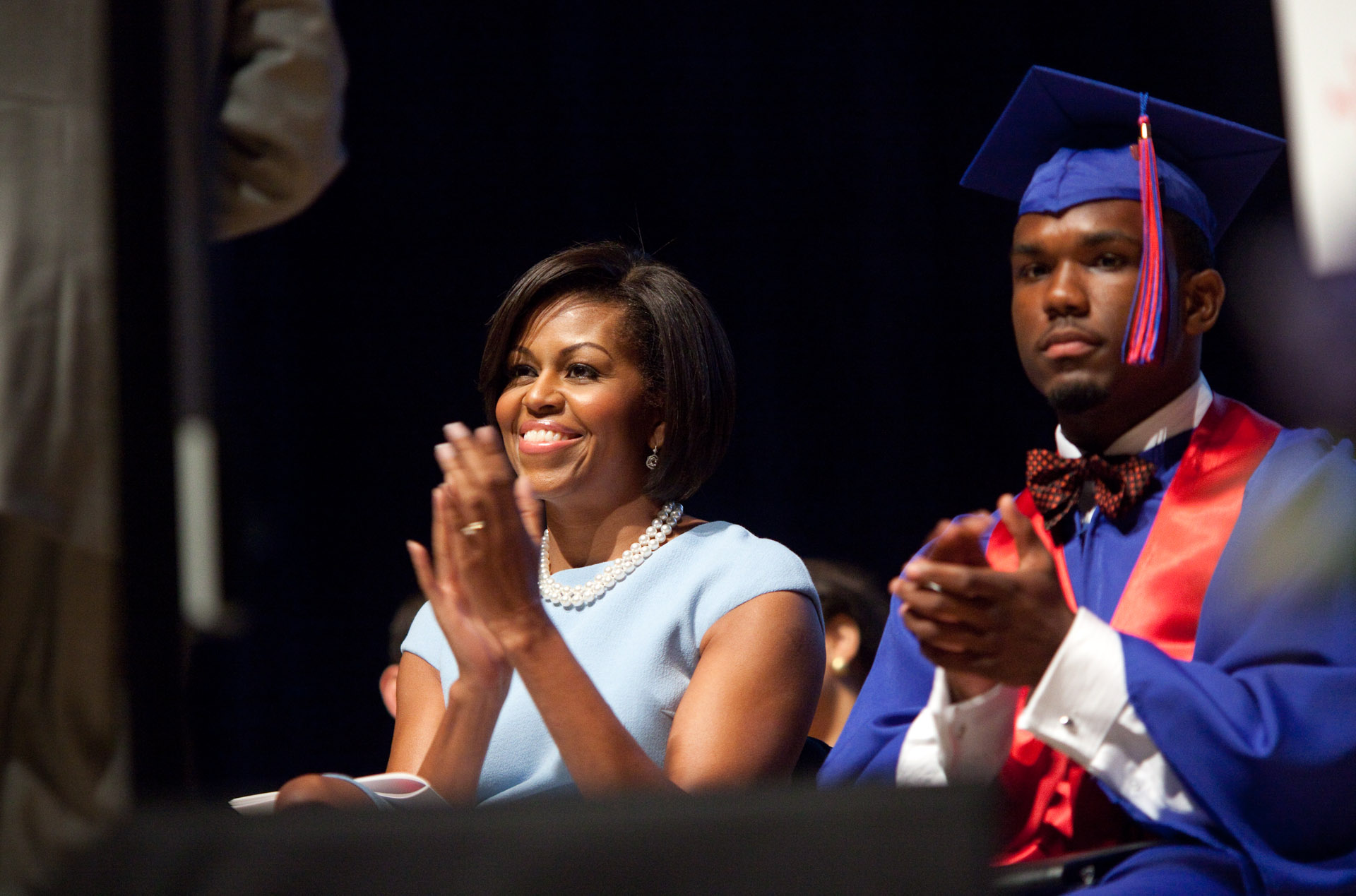 First Lady Michelle Obama during the Anacostia Senior High School commencement ceremony