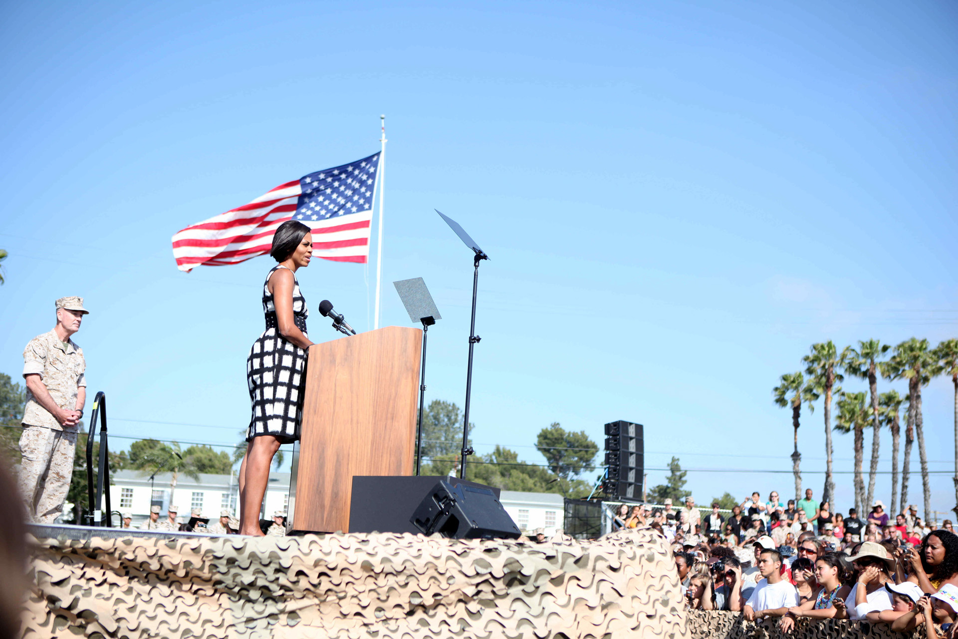 First Lady Michelle Obama delivers remarks to Marines