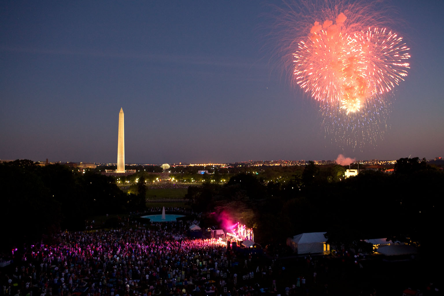 Fireworks begin as The Killers play on the South Lawn
