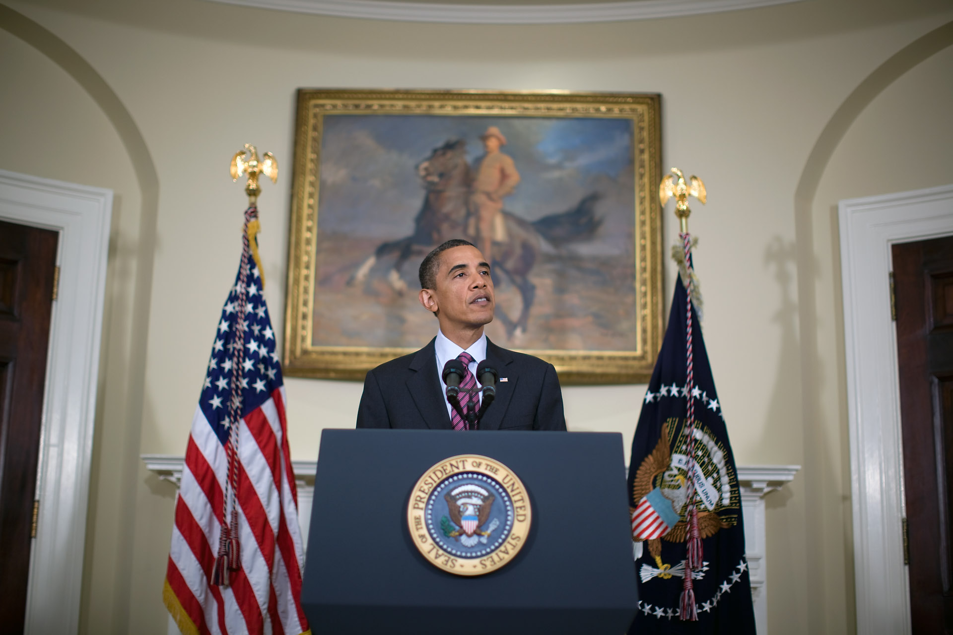 President Obama delivers remarks in the Roosevelt Room