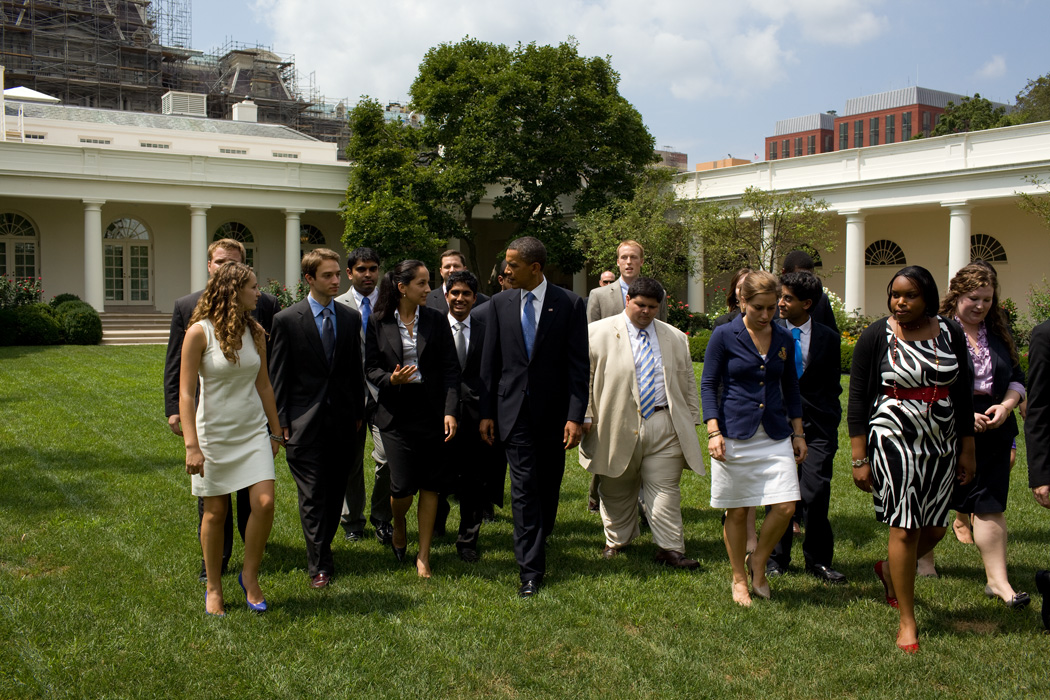 President walks with interns