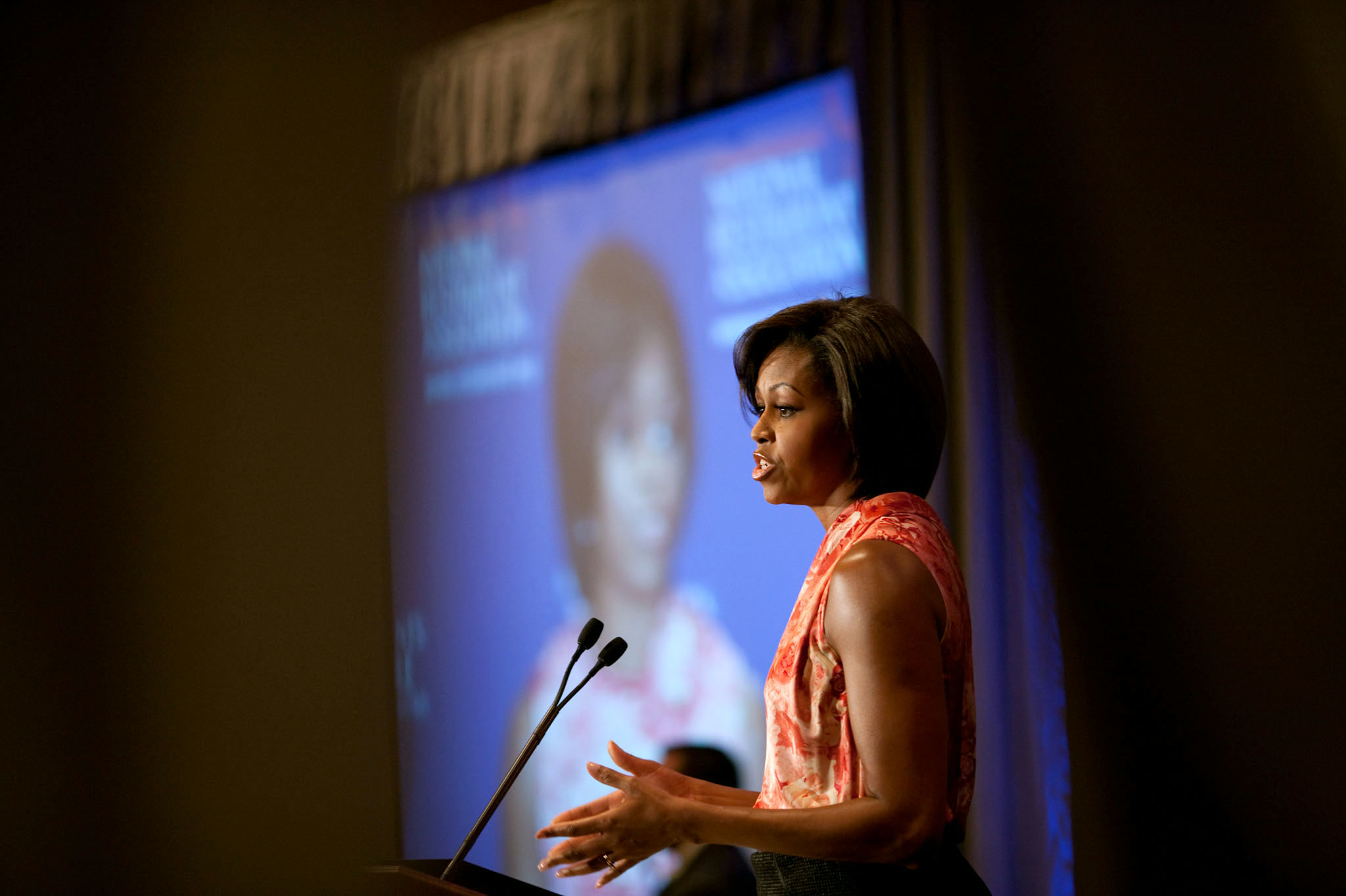 First Lady Michelle Obama delivers remarks to the National Restaurant Association