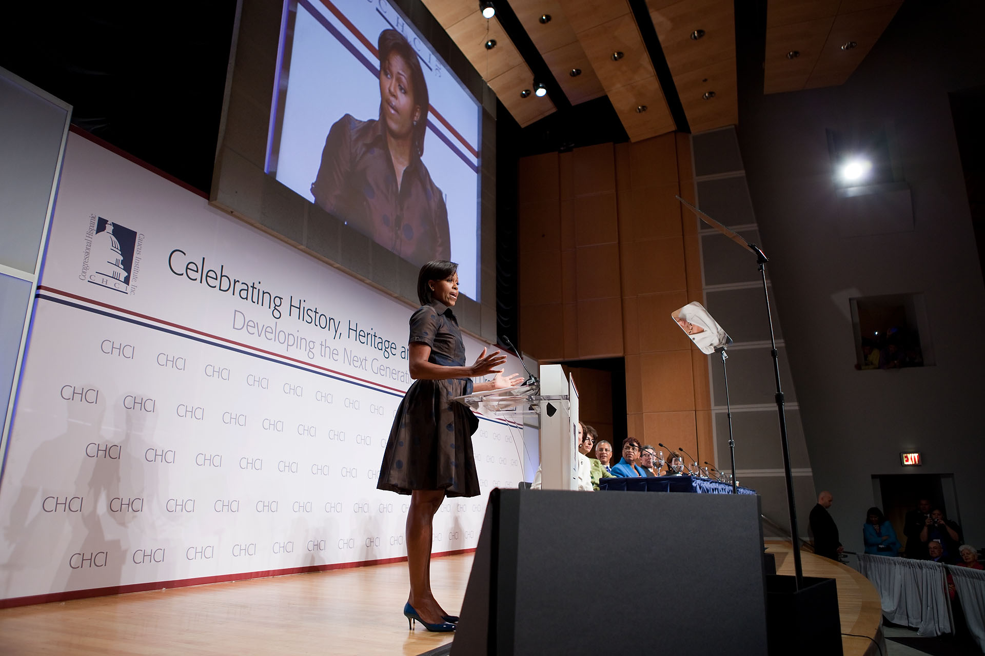 First Lady Michelle Obama delivers remarks before the Congressional Hispanic Caucus Institute