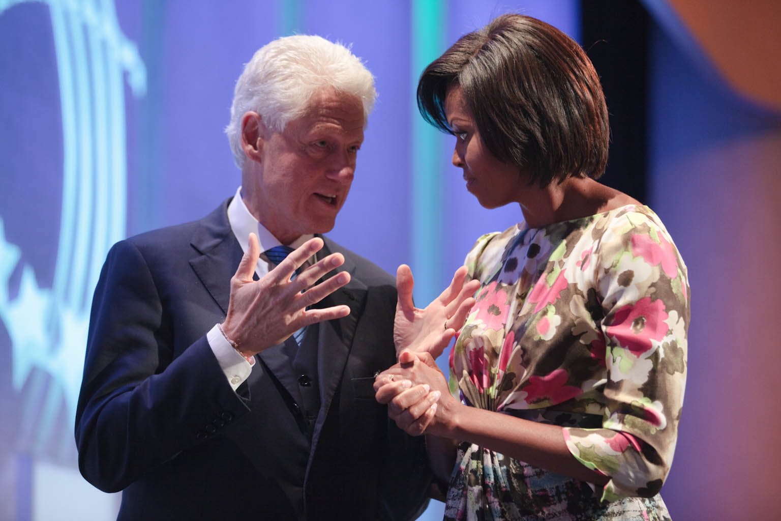 First Lady Michelle Obama and President Bill Clinton at Clinton Global Initiative