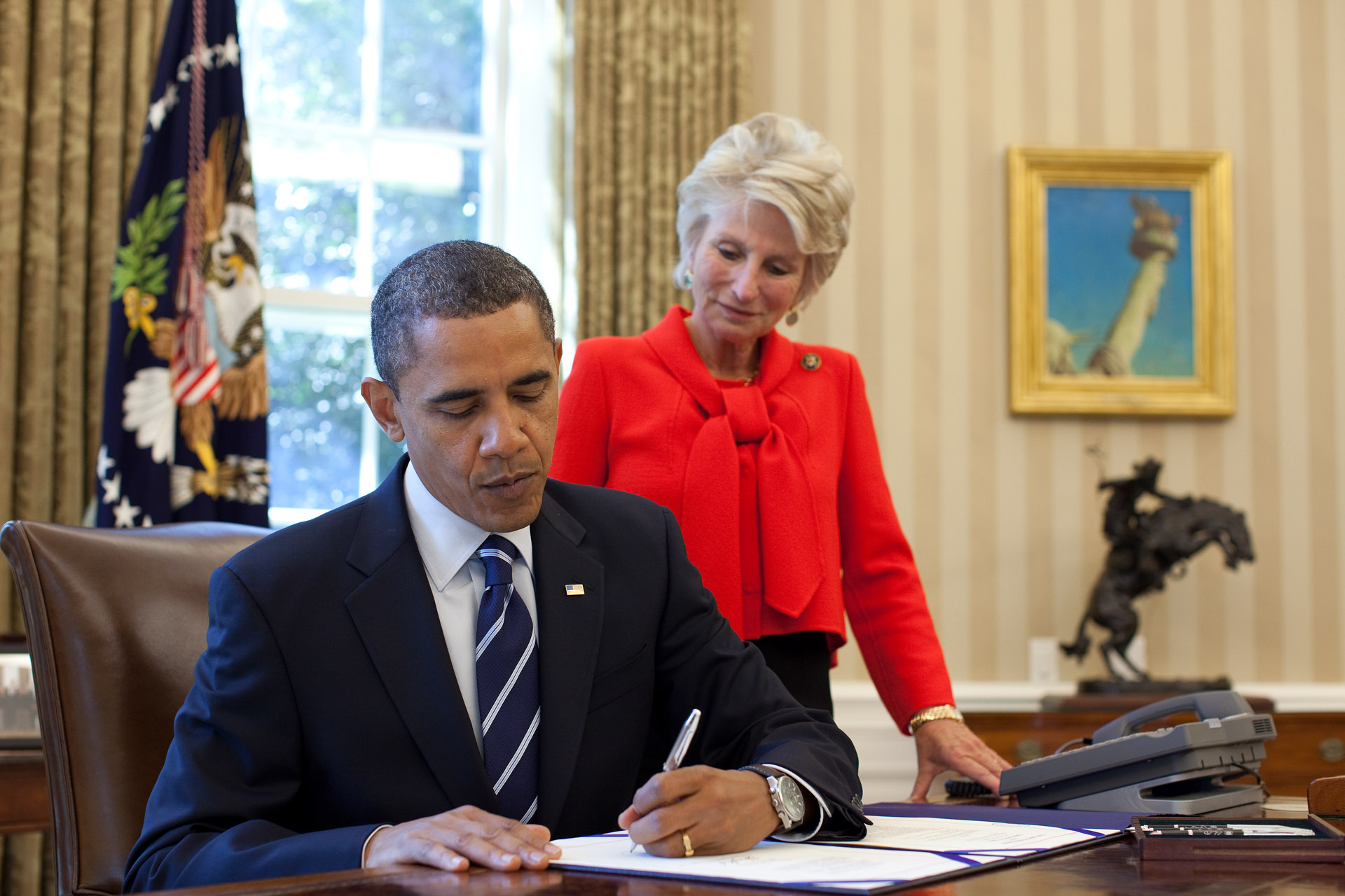 President Barack Obama signs the Reducing Over Classification Bill