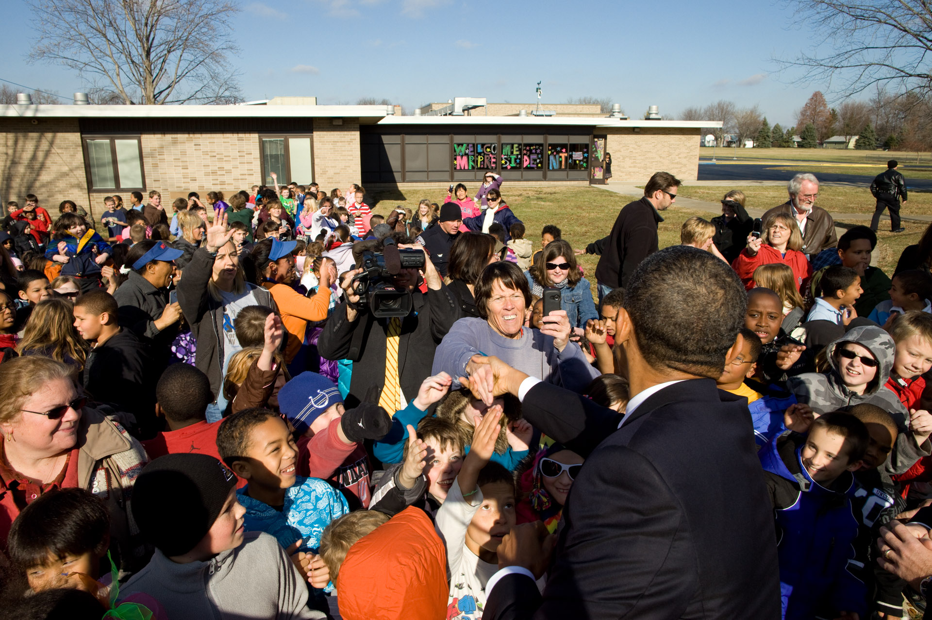 President Obama at a school in Kokomo, Indiana